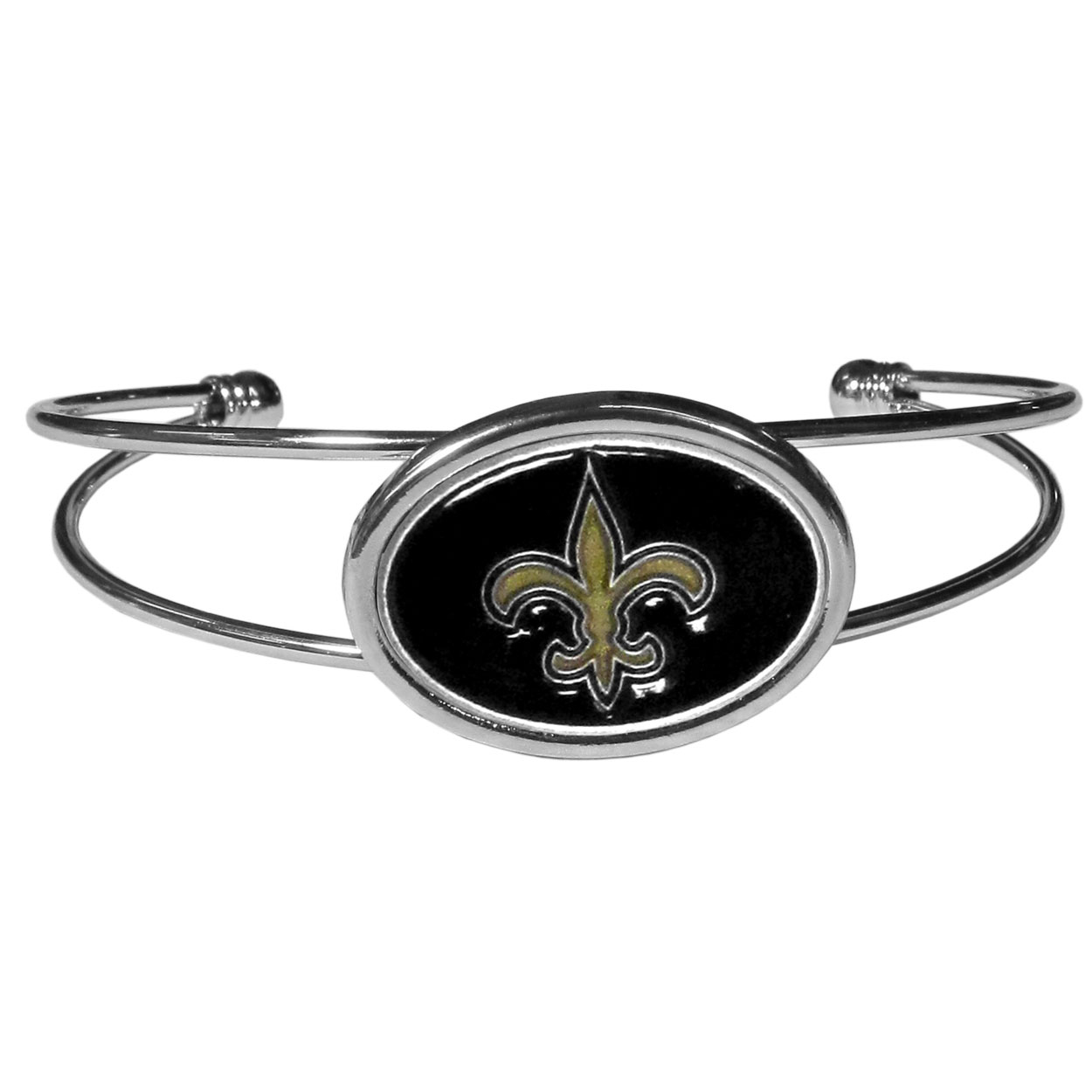 New Orleans Saints Cuff Bracelet - These comfortable and fashionable double-bar cuff bracelets feature a 1 inch metal New Orleans Saints inset logo with enameled detail.