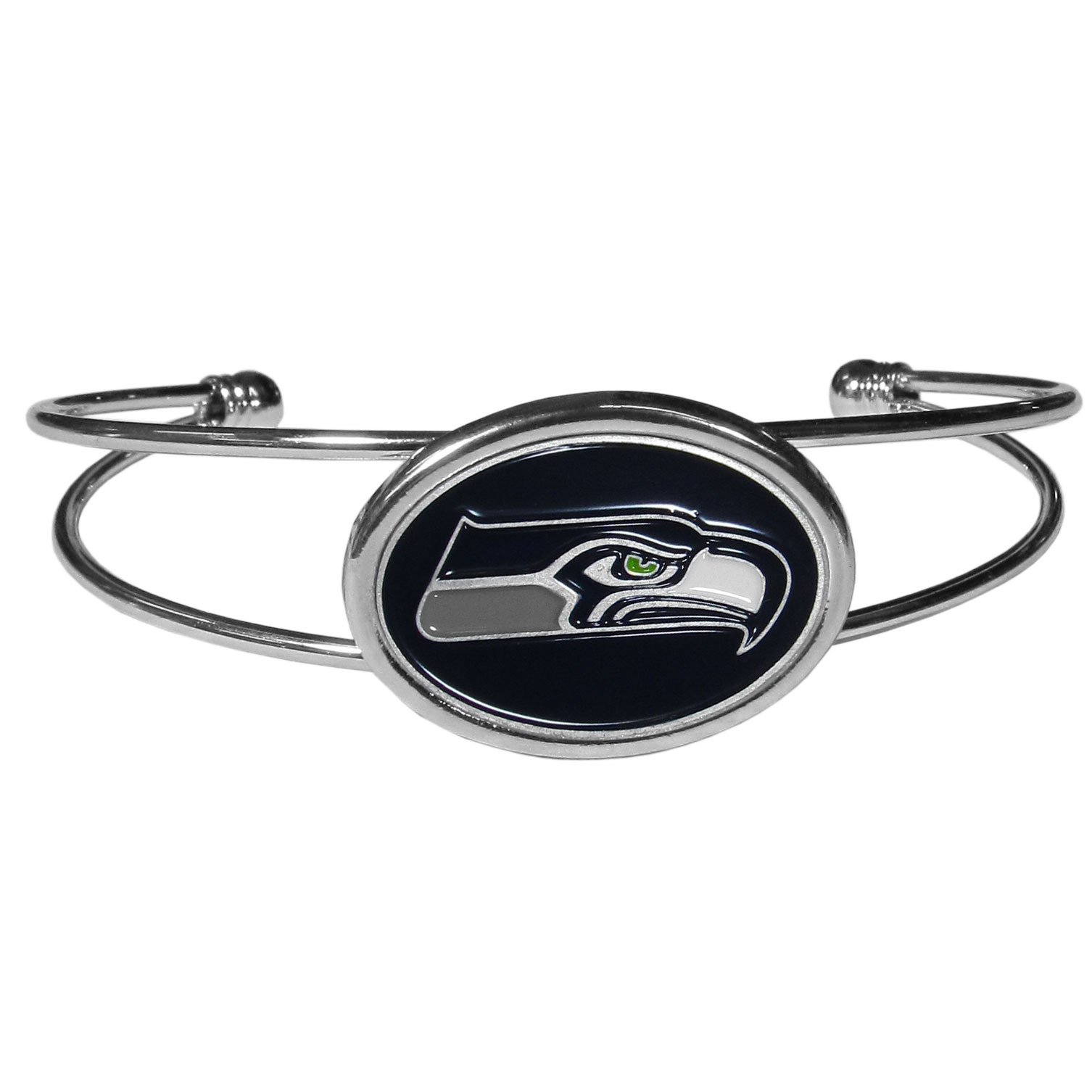 Seattle Seahawks Cuff Bracelet - These comfortable and fashionable double-bar cuff bracelets feature a 1 inch metal Seattle Seahawks inset logo with enameled detail.