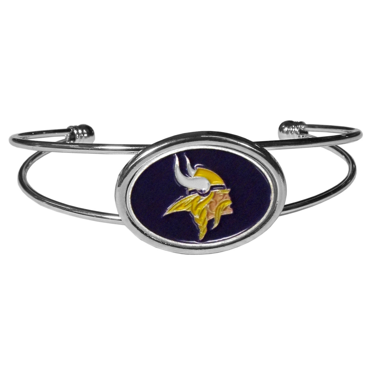 Minnesota Vikings Cuff Bracelet - These comfortable and fashionable double-bar cuff bracelets feature a 1 inch metal Minnesota Vikings inset logo with enameled detail.