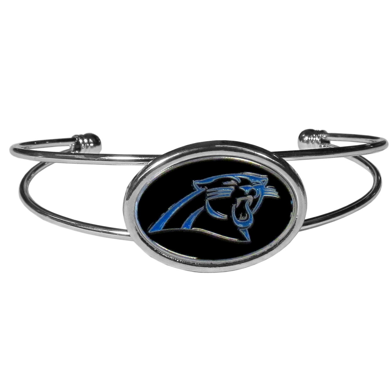 Carolina Panthers Cuff Bracelet - These comfortable and fashionable double-bar cuff bracelets feature a 1 inch metal Carolina Panthers inset logo with enameled detail.