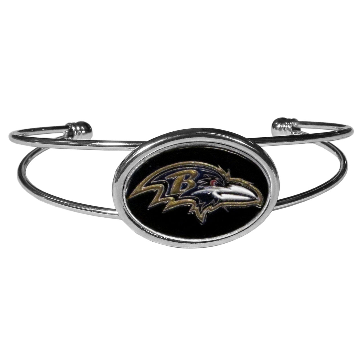 Baltimore Ravens Cuff Bracelet - These comfortable and fashionable double-bar cuff bracelets feature a 1 inch metal Baltimore Ravens inset logo with enameled detail.