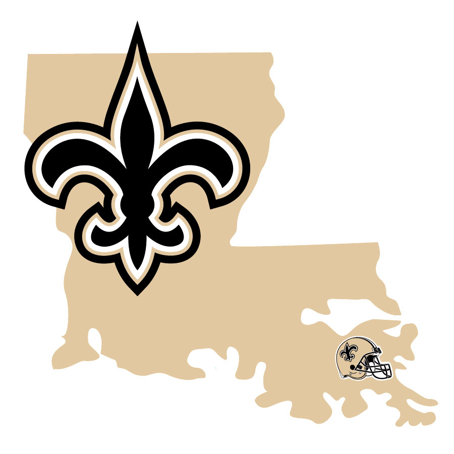 New Orleans Saints Home State Decal - It's a home state decal with a sporty twist! This New Orleans Saints decal feature the team logo over a silhouette of the state in team colors and a heart marking the home of the team. The decal is approximately 5 inches on repositionable vinyl.