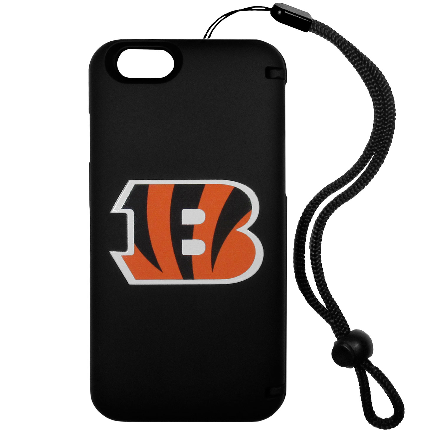 Cincinnati Bengals iPhone 6 Plus Everything Case - This case really does have everything but the kitchen sink! The hidden compartment lets you keep your cards, money and tickets to the big game safe and secure and has a compact mirror so you can make sure your game face is ready to go. It also comes with a kickstand to make chatting and watching videos a breeze. The wrist strap allows you to travel with ease with your everything case. If that's not enough, it also comes with the Cincinnati Bengals logo printed in expert detail on the front.