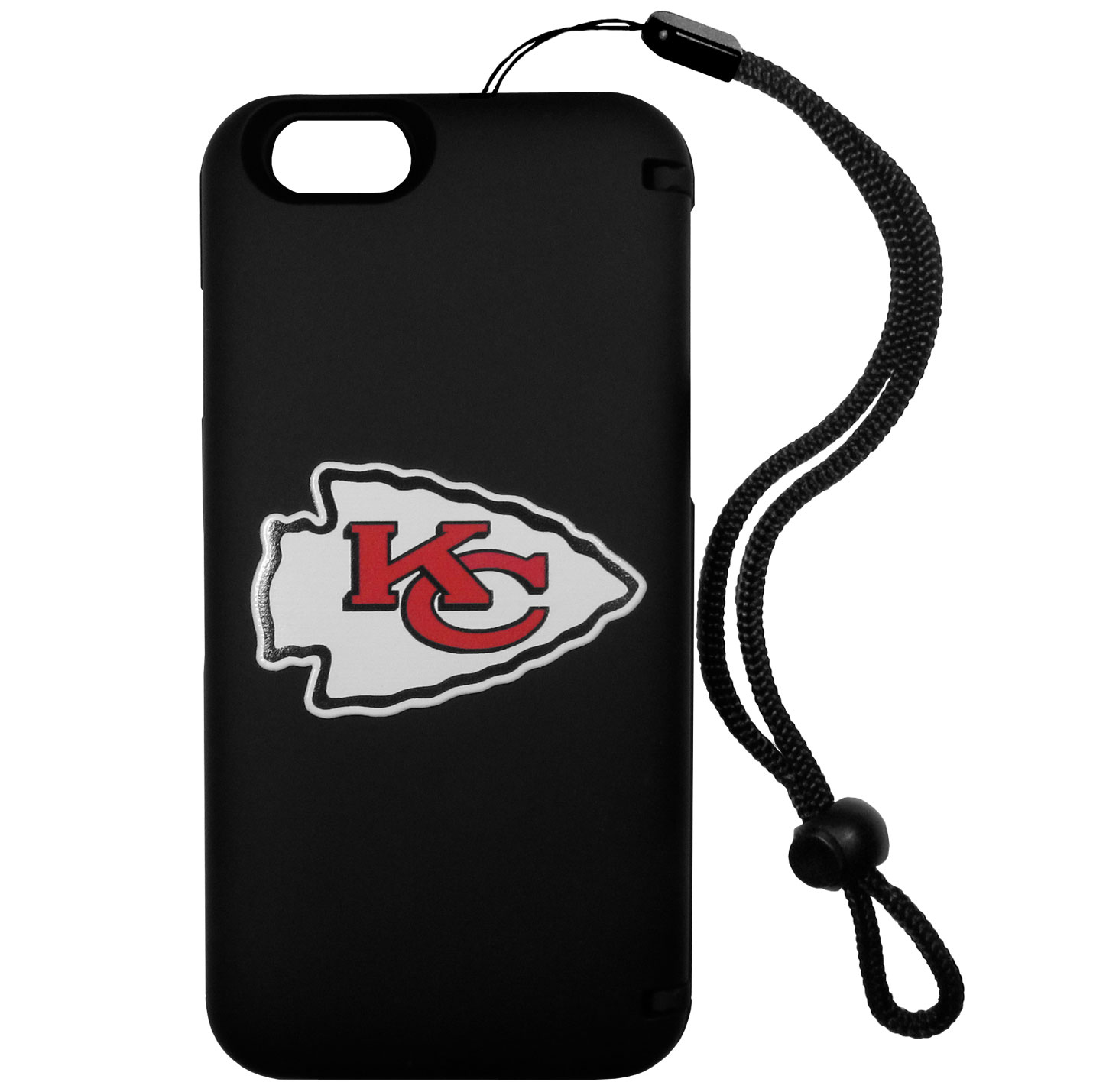 Kansas City Chiefs iPhone 6 Plus Everything Case - This case really does have everything but the kitchen sink! The hidden compartment lets you keep your cards, money and tickets to the big game safe and secure and has a compact mirror so you can make sure your game face is ready to go. It also comes with a kickstand to make chatting and watching videos a breeze. The wrist strap allows you to travel with ease with your everything case. If that's not enough, it also comes with the Kansas City Chiefs logo printed in expert detail on the front.