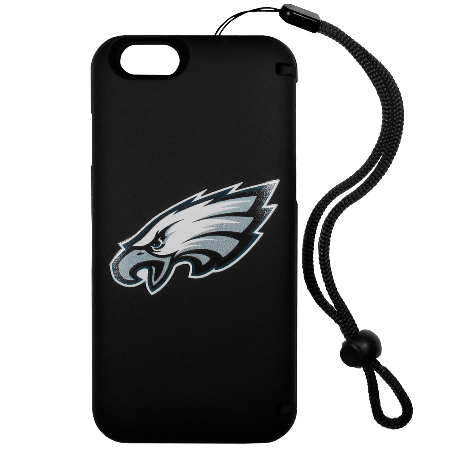 Philadelphia Eagles iPhone 6 Plus Everything Case - This case really does have everything but the kitchen sink! The hidden compartment lets you keep your cards, money and tickets to the big game safe and secure and has a compact mirror so you can make sure your game face is ready to go. It also comes with a kickstand to make chatting and watching videos a breeze. The wrist strap allows you to travel with ease with your everything case. If that's not enough, it also comes with the Philadelphia Eagles logo printed in expert detail on the front.