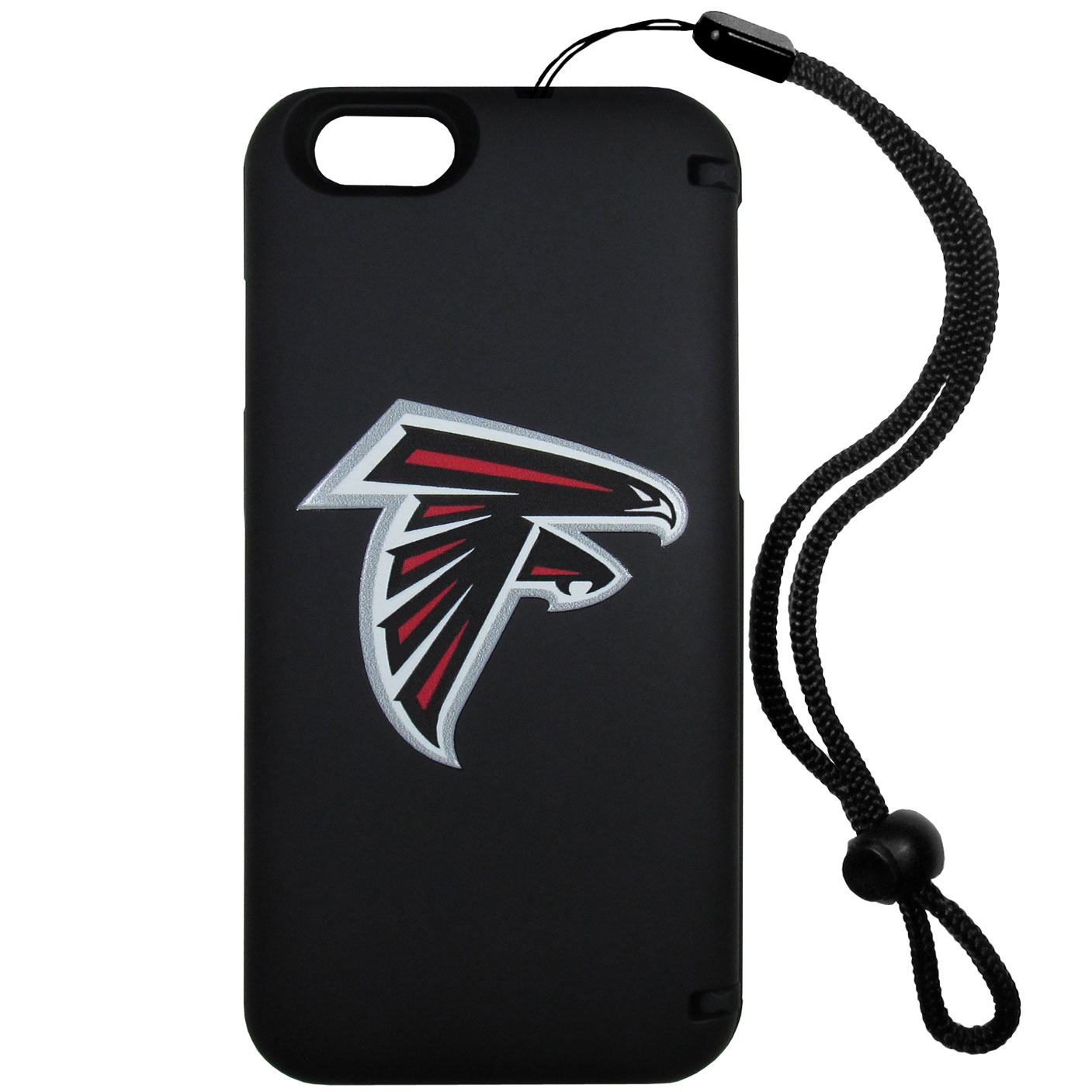 Atlanta Falcons iPhone 6 Plus Everything Case - This case really does have everything but the kitchen sink! The hidden compartment lets you keep your cards, money and tickets to the big game safe and secure and has a compact mirror so you can make sure your game face is ready to go. It also comes with a kickstand to make chatting and watching videos a breeze. The wrist strap allows you to travel with ease with your everything case. If that's not enough, it also comes with the Atlanta Falcons logo printed in expert detail on the front.