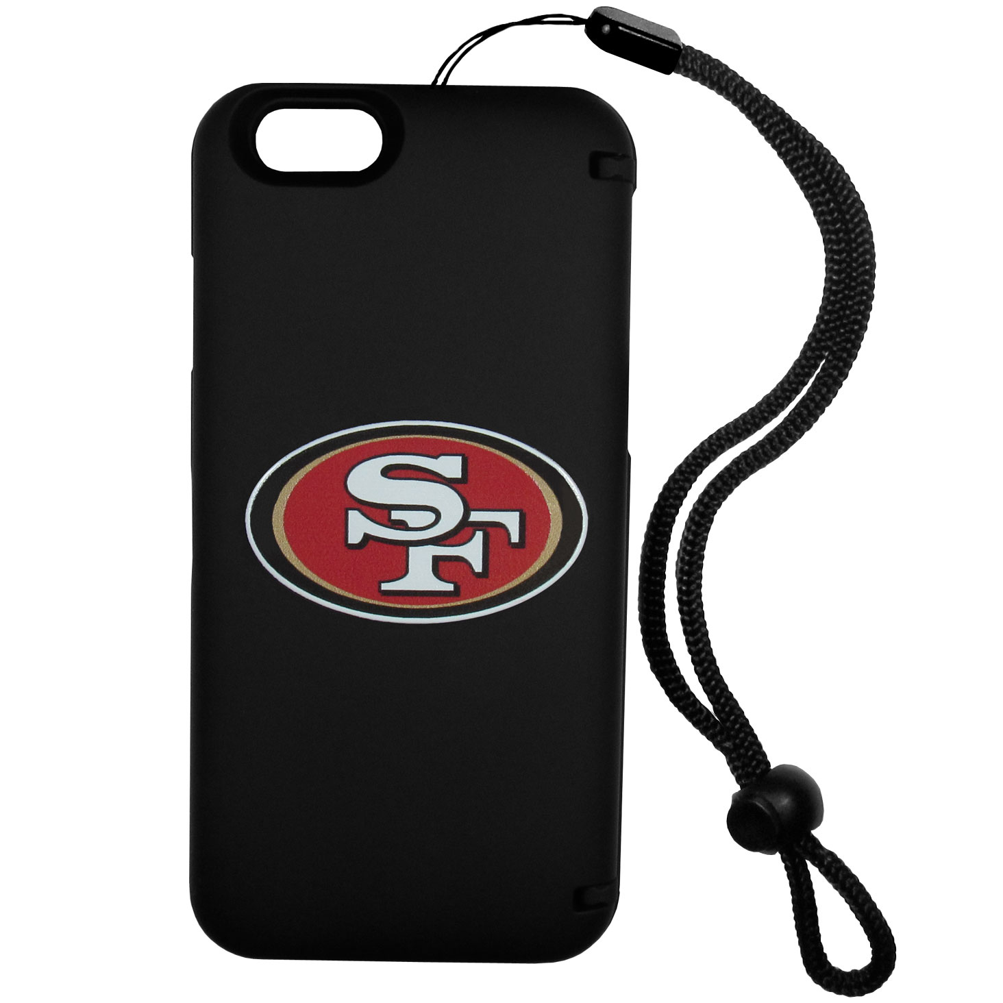 San Francisco 49ers iPhone 6 Plus Everything Case - This case really does have everything but the kitchen sink! The hidden compartment lets you keep your cards, money and tickets to the big game safe and secure and has a compact mirror so you can make sure your game face is ready to go. It also comes with a kickstand to make chatting and watching videos a breeze. The wrist strap allows you to travel with ease with your everything case. If that's not enough, it also comes with the San Francisco 49ers logo printed in expert detail on the front.