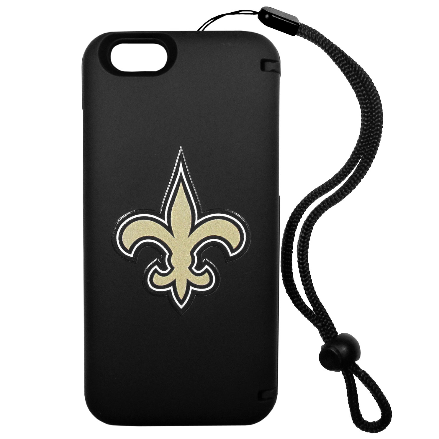 New Orleans Saints iPhone 6 Plus Everything Case - This case really does have everything but the kitchen sink! The hidden compartment lets you keep your cards, money and tickets to the big game safe and secure and has a compact mirror so you can make sure your game face is ready to go. It also comes with a kickstand to make chatting and watching videos a breeze. The wrist strap allows you to travel with ease with your everything case. If that's not enough, it also comes with the New Orleans Saints logo printed in expert detail on the front.