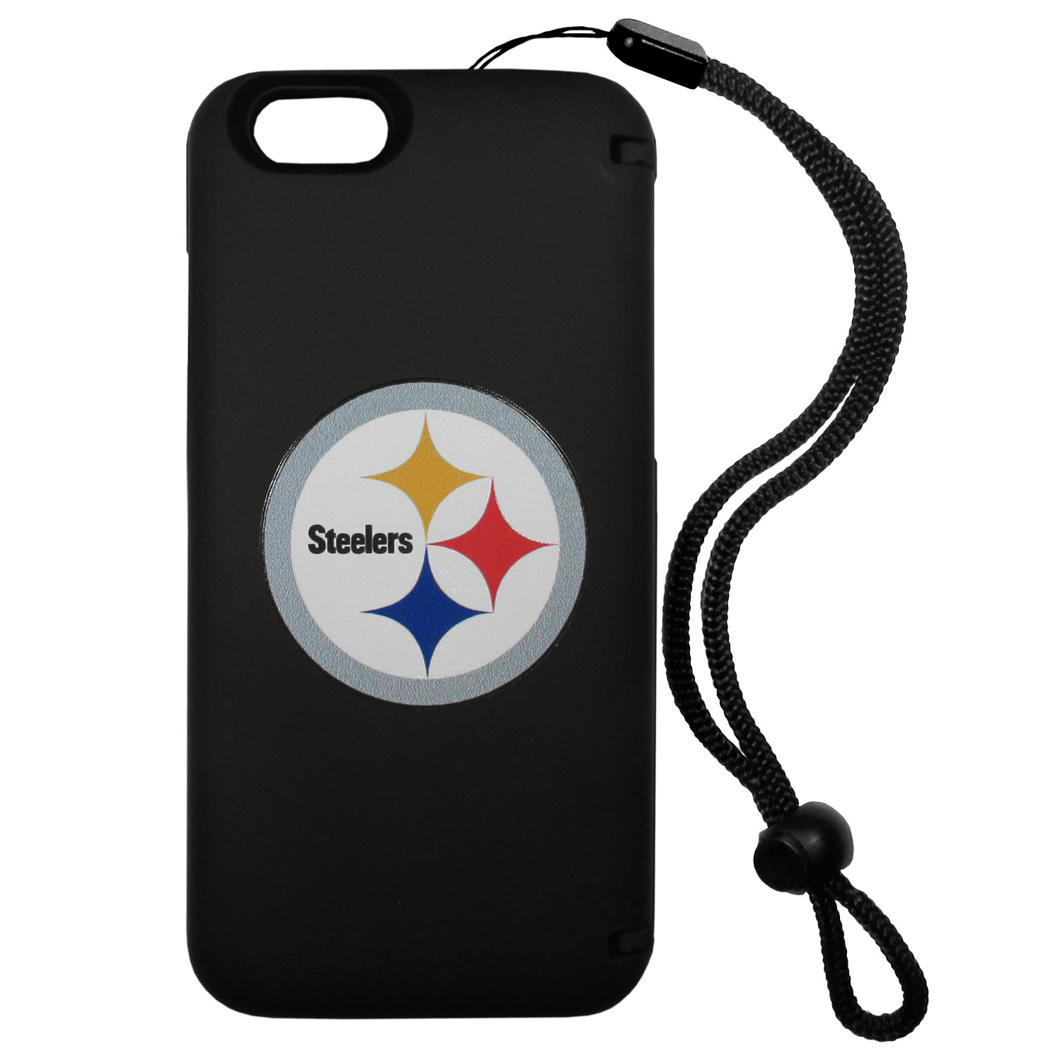 Pittsburgh Steelers iPhone 6 Plus Everything Case - This case really does have everything but the kitchen sink! The hidden compartment lets you keep your cards, money and tickets to the big game safe and secure and has a compact mirror so you can make sure your game face is ready to go. It also comes with a kickstand to make chatting and watching videos a breeze. The wrist strap allows you to travel with ease with your everything case. If that's not enough, it also comes with the Pittsburgh Steelers logo printed in expert detail on the front.