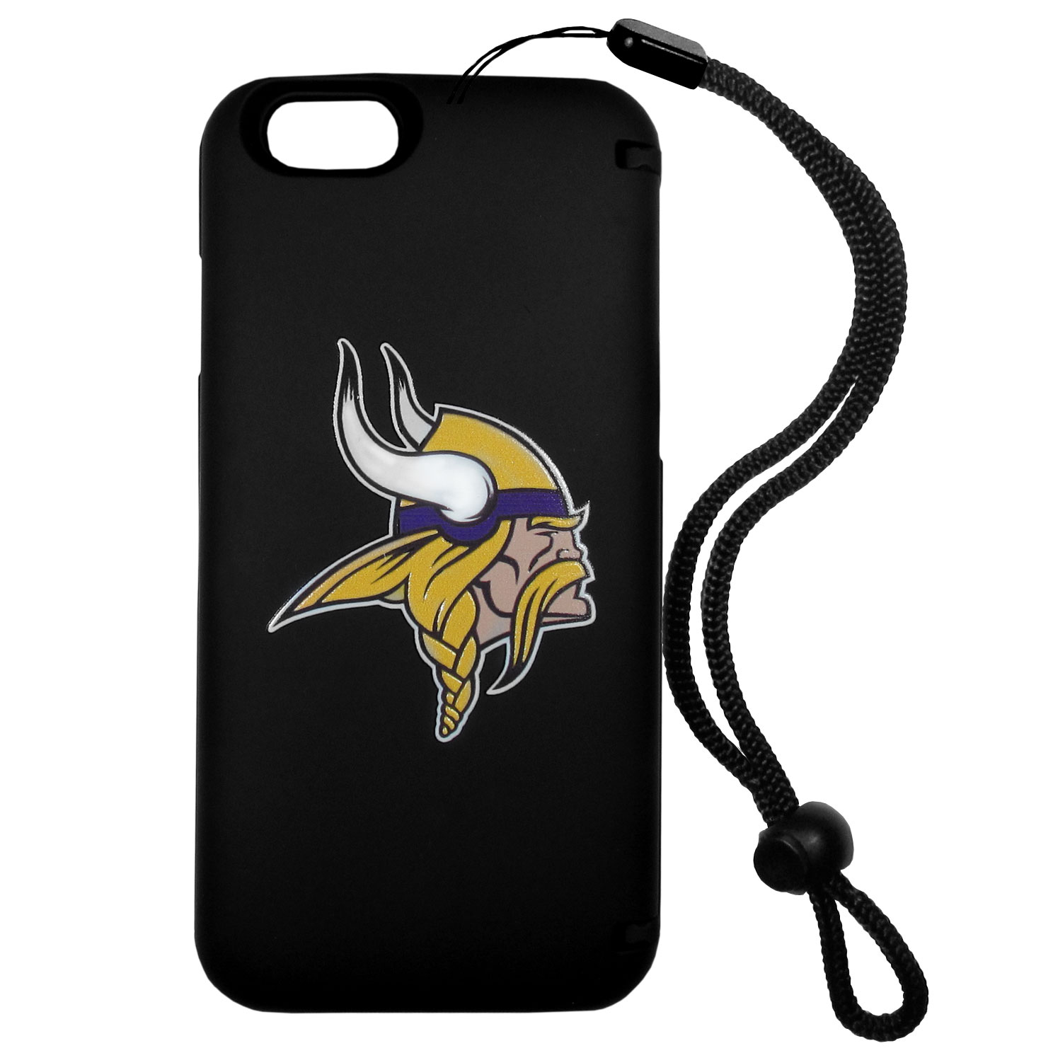 Minnesota Vikings iPhone 6 Plus Everything Case - This case really does have everything but the kitchen sink! The hidden compartment lets you keep your cards, money and tickets to the big game safe and secure and has a compact mirror so you can make sure your game face is ready to go. It also comes with a kickstand to make chatting and watching videos a breeze. The wrist strap allows you to travel with ease with your everything case. If that's not enough, it also comes with the Minnesota Vikings logo printed in expert detail on the front.