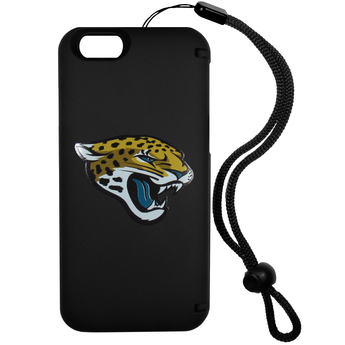 Jacksonville Jaguars iPhone 6 Plus Everything Case - This case really does have everything but the kitchen sink! The hidden compartment lets you keep your cards, money and tickets to the big game safe and secure and has a compact mirror so you can make sure your game face is ready to go. It also comes with a kickstand to make chatting and watching videos a breeze. The wrist strap allows you to travel with ease with your everything case. If that's not enough, it also comes with the Jacksonville Jaguars logo printed in expert detail on the front.