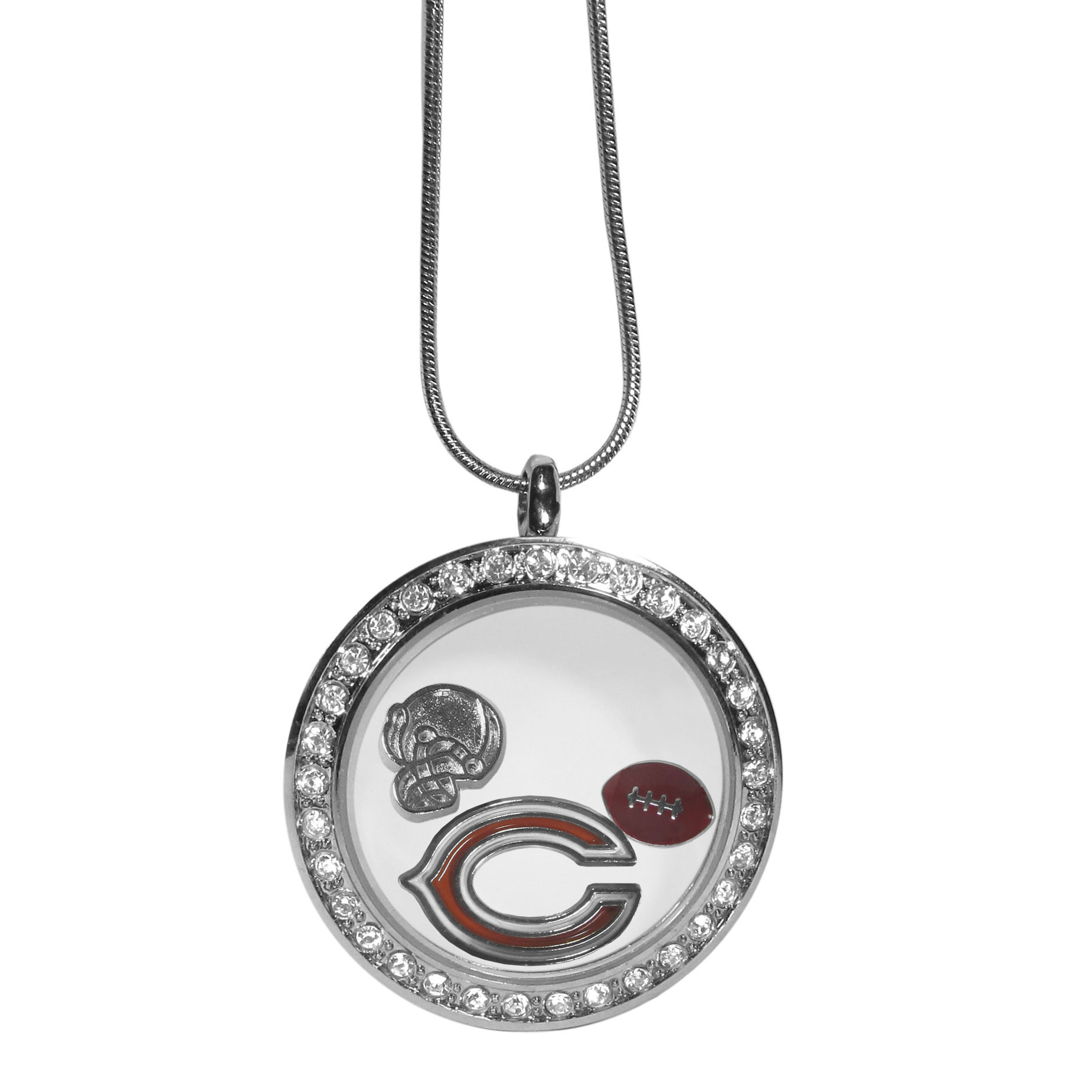 Cincinnati Bengals Locket Necklace - We have taken the classic floating charm locket and combined with licensed sports charms to create a must have fan necklace. The necklace comes with 3 charms; 1 Cincinnati Bengals charm, one football charm and one helmet charm. The charms float in a beautiful locket that has a strong magnetic closure with a rhinestone border. The locket comes on an 18 inch snake chain with 2 inch extender.