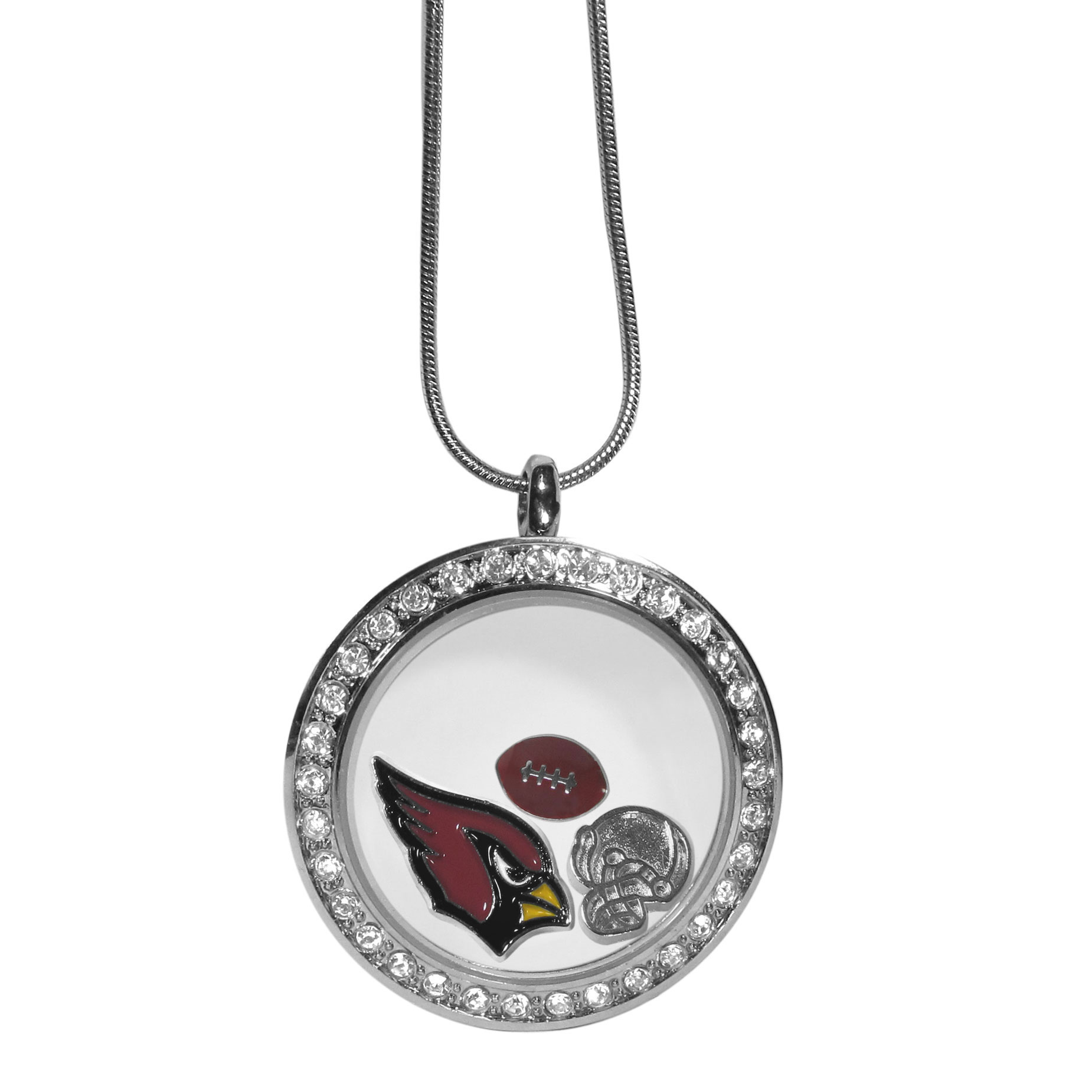 Arizona Cardinals Locket Necklace - We have taken the classic floating charm locket and combined with licensed sports charms to create a must have fan necklace. The necklace comes with 3 charms; 1 Arizona Cardinals charm, one football charm and one helmet charm. The charms float in a beautiful locket that has a strong magnetic closure with a rhinestone border. The locket comes on an 18 inch snake chain with 2 inch extender.