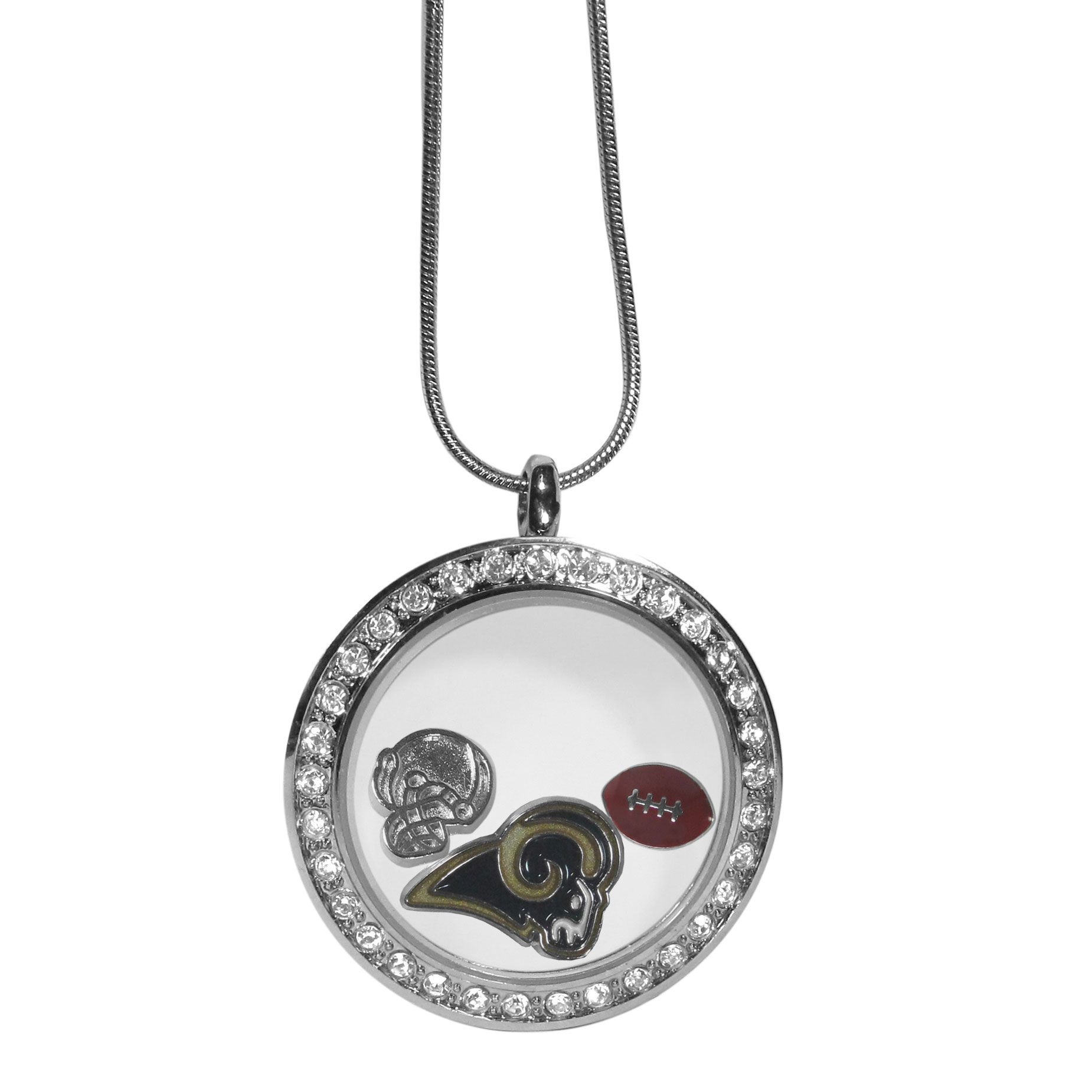 Los Angeles Rams Locket Necklace - We have taken the classic floating charm locket and combined with licensed sports charms to create a must have fan necklace. The necklace comes with 3 charms; 1 Los Angeles Rams charm, one football charm and one helmet charm. The charms float in a beautiful locket that has a strong magnetic closure with a rhinestone border. The locket comes on an 18 inch snake chain with 2 inch extender.