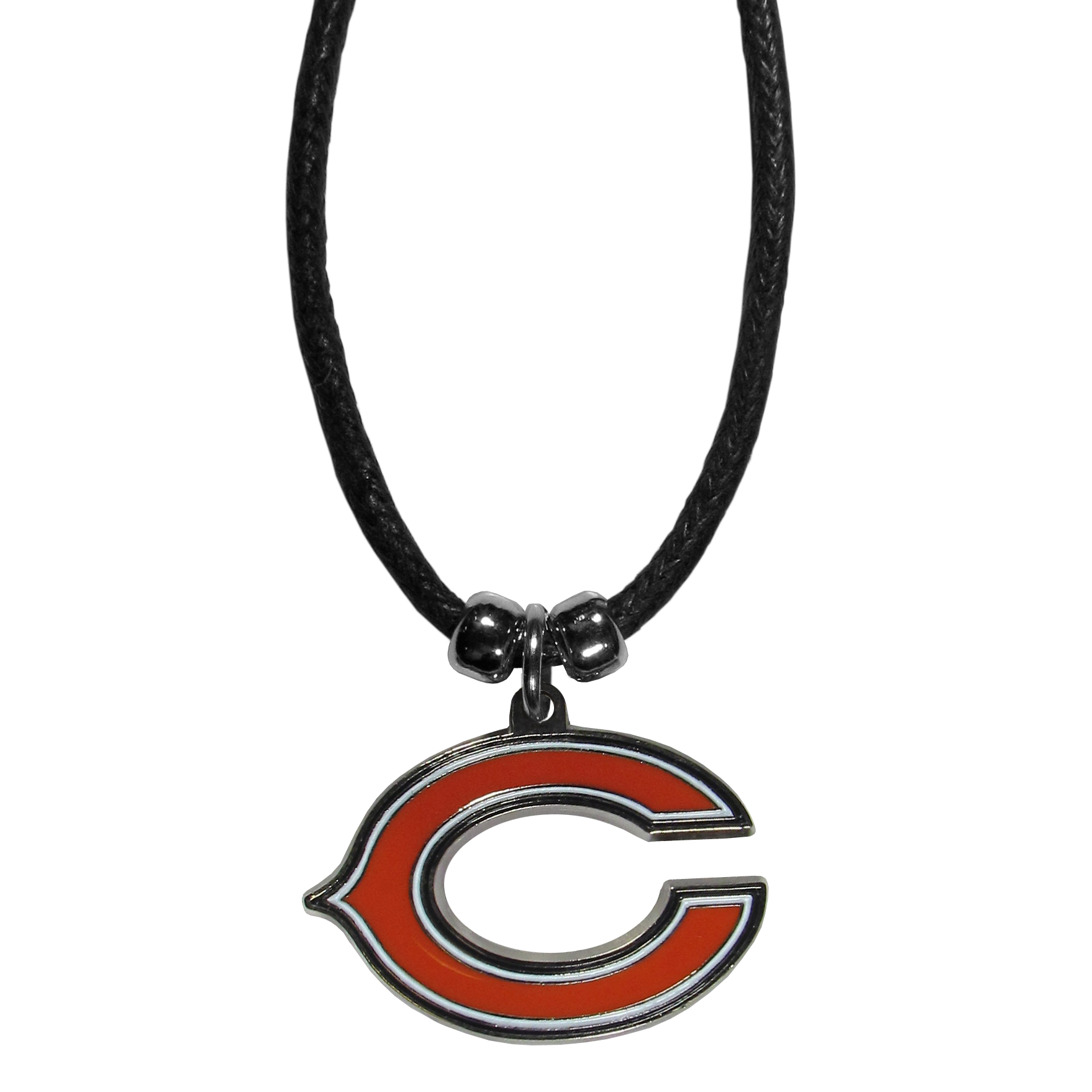 Chicago Bears Cord Necklace - This classic style cotton cord necklace features an extra large Chicago Bears pendant on a 21 inch cord.