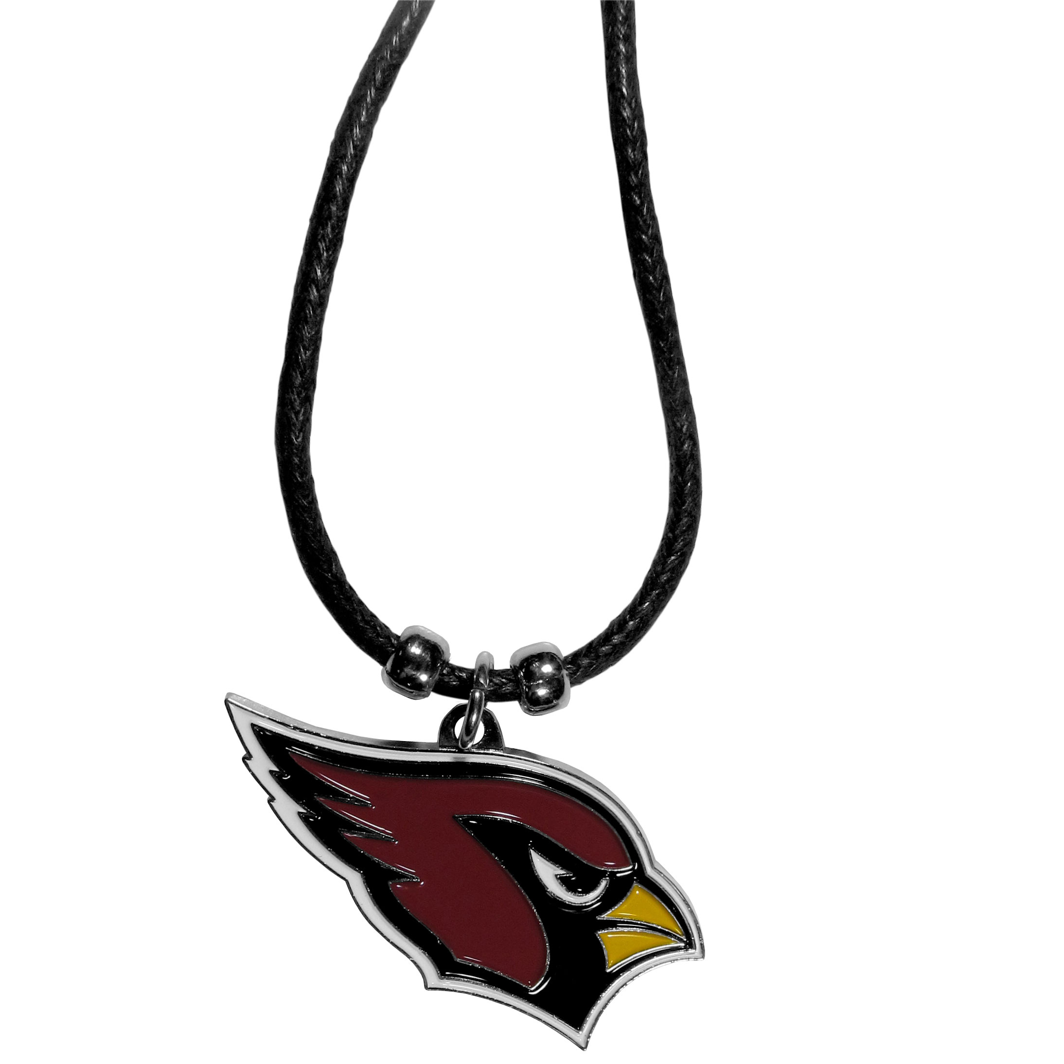 Arizona Cardinals Cord Necklace - This classic style cotton cord necklace features an extra large Arizona Cardinals pendant on a 21 inch cord.