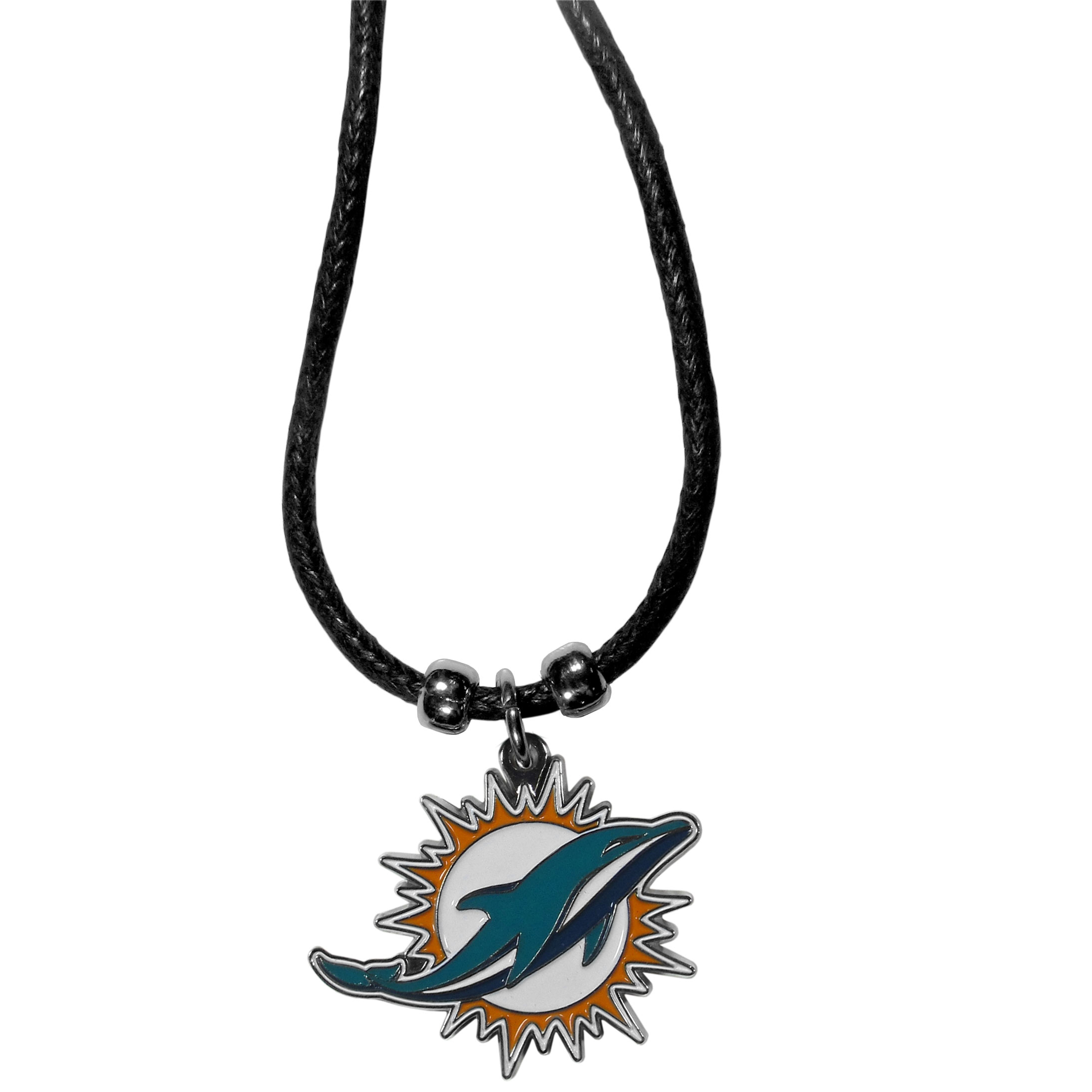 Miami Dolphins Cord Necklace - This classic style cotton cord necklace features an extra large Miami Dolphins pendant on a 21 inch cord.