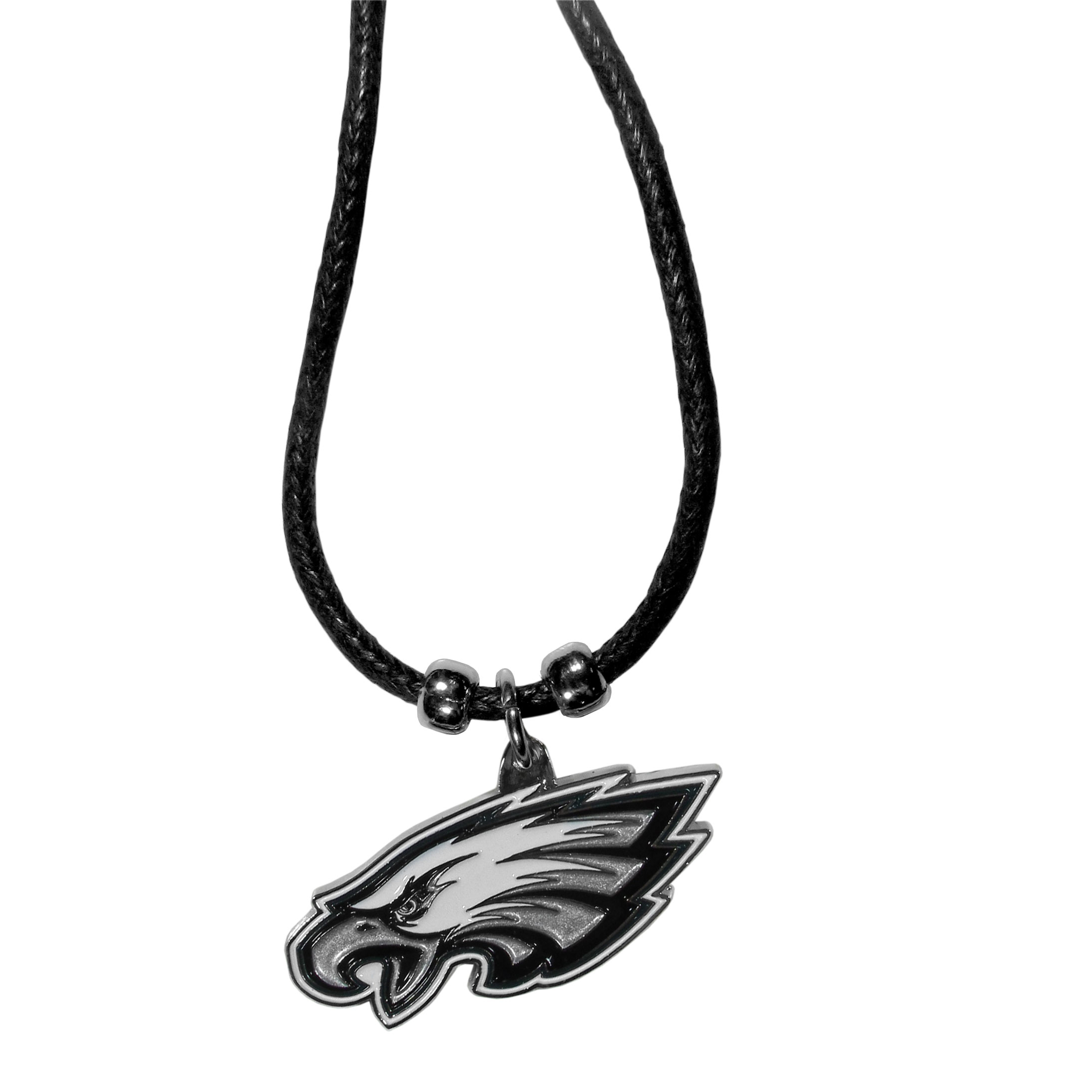 Philadelphia Eagles Cord Necklace - This classic style cotton cord necklace features an extra large Philadelphia Eagles pendant on a 21 inch cord.