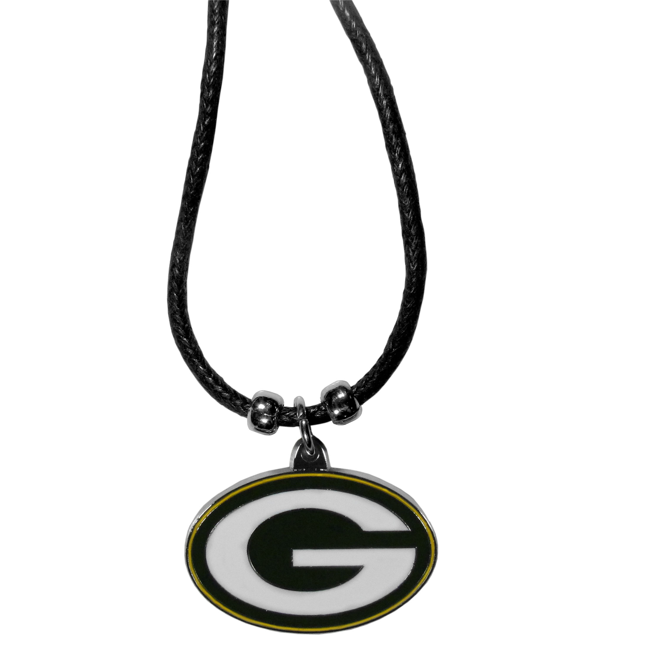 Green Bay Packers Cord Necklace - This classic style cotton cord necklace features an extra large Green Bay Packers pendant on a 21 inch cord.
