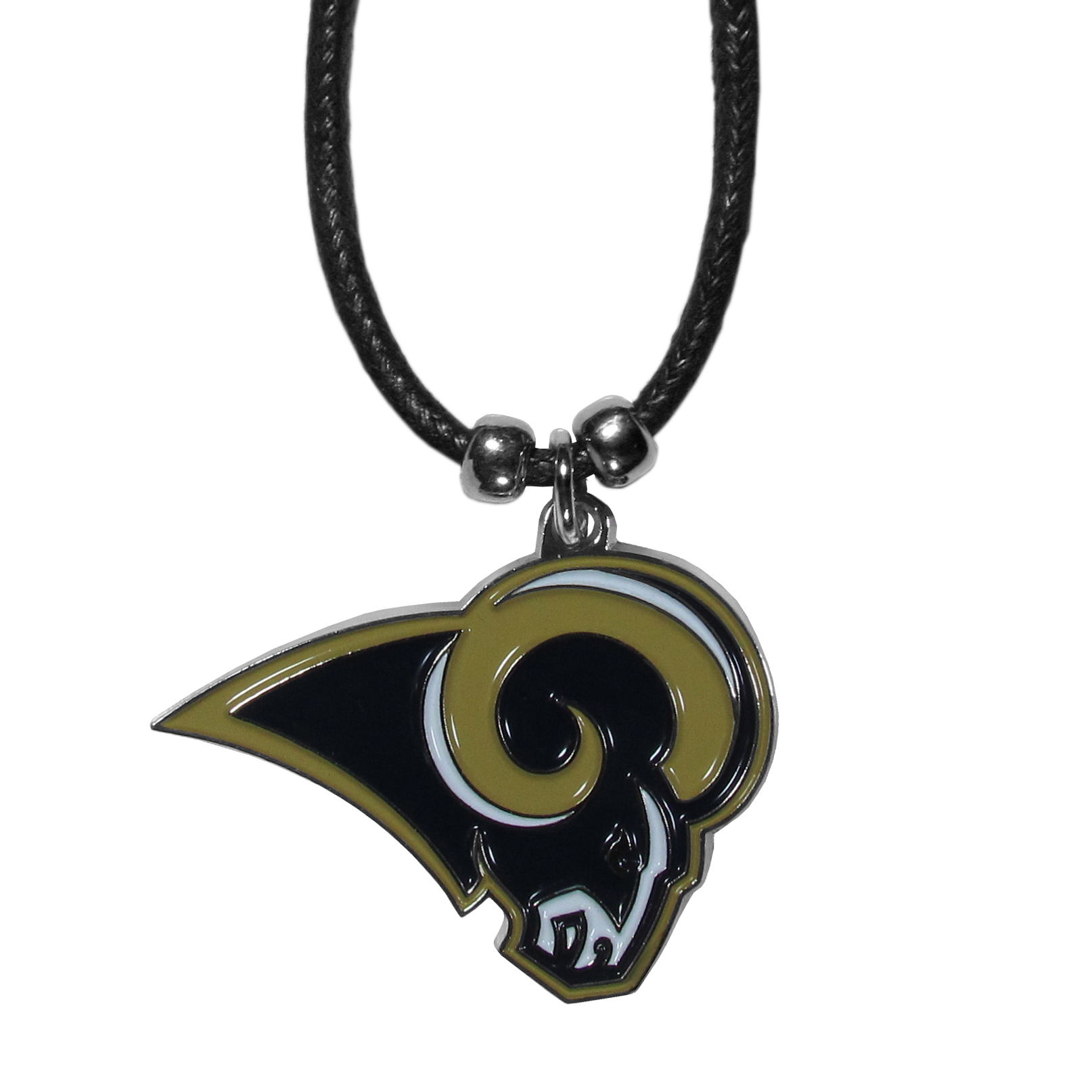 Los Angeles Rams Cord Necklace - This classic style cotton cord necklace features an extra large Los Angeles Rams pendant on a 21 inch cord.