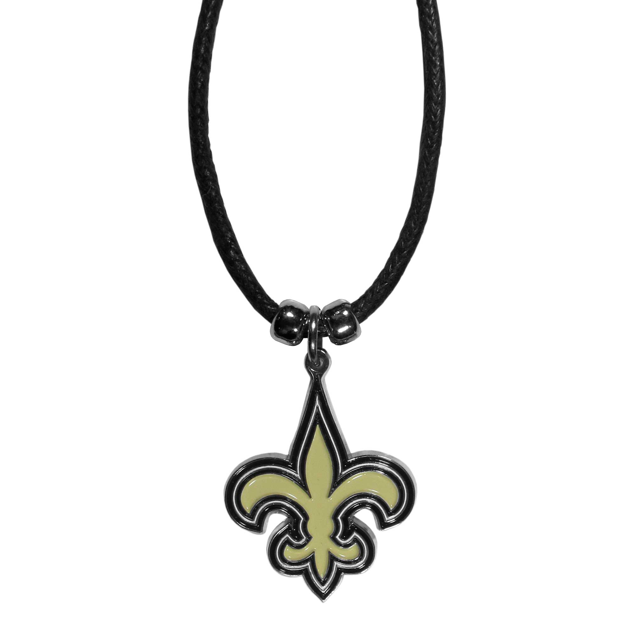 New Orleans Saints Cord Necklace - This classic style cotton cord necklace features an extra large New Orleans Saints pendant on a 21 inch cord.