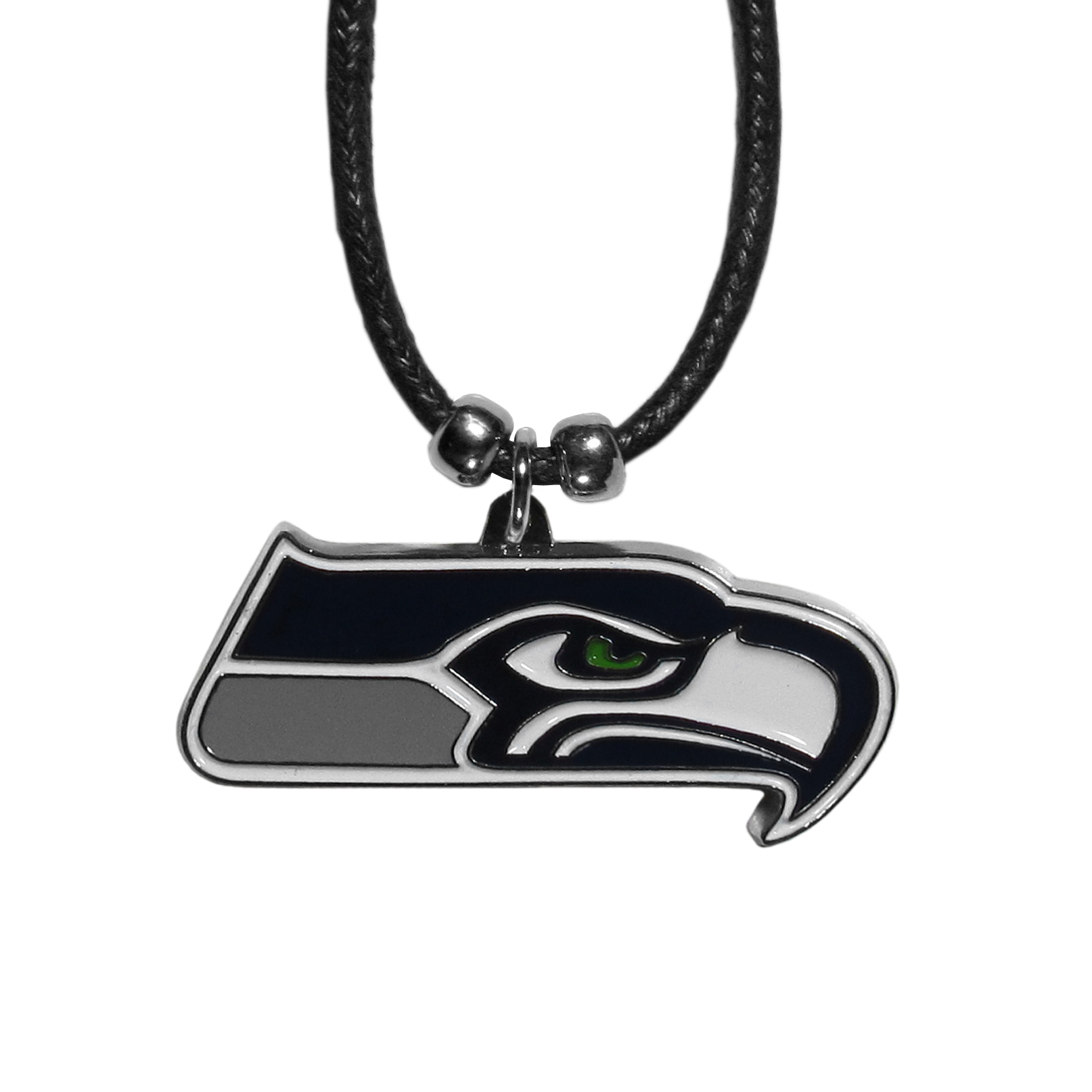 Seattle Seahawks Cord Necklace - This classic style cotton cord necklace features an extra large Seattle Seahawks pendant on a 21 inch cord.