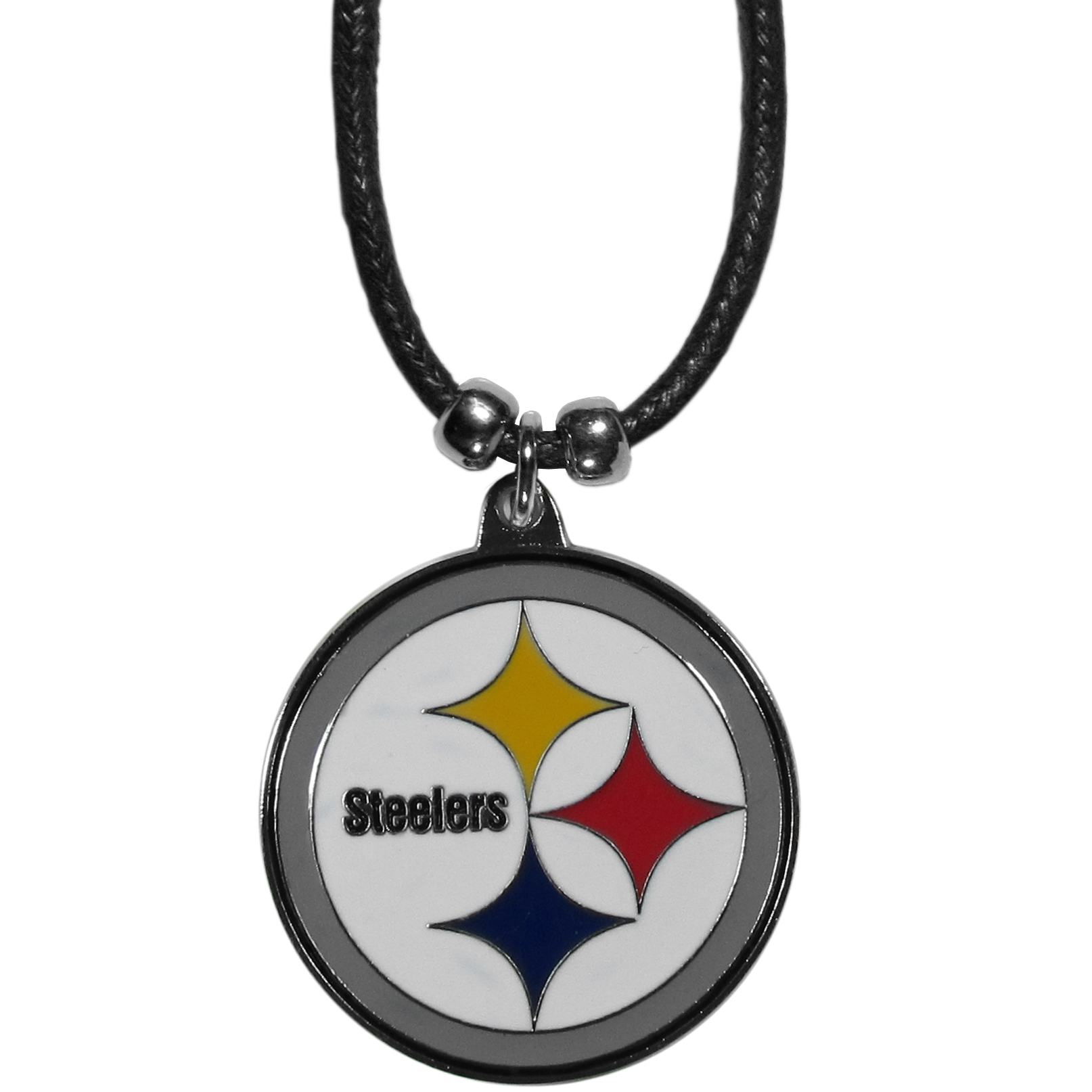 Pittsburgh Steelers Cord Necklace - This classic style cotton cord necklace features an extra large Pittsburgh Steelers pendant on a 21 inch cord.