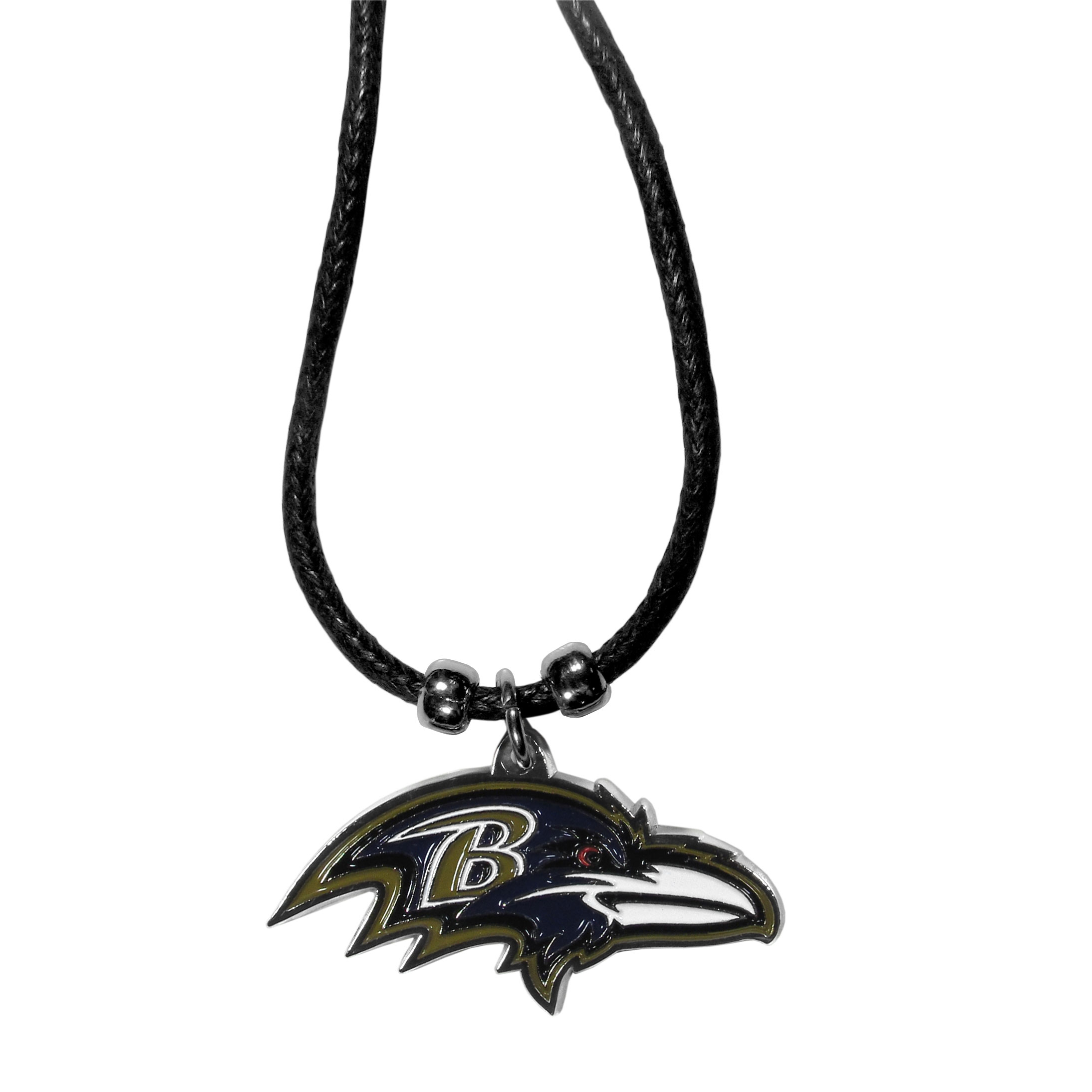 Baltimore Ravens Cord Necklace - This classic style cotton cord necklace features an extra large Baltimore Ravens pendant on a 21 inch cord.