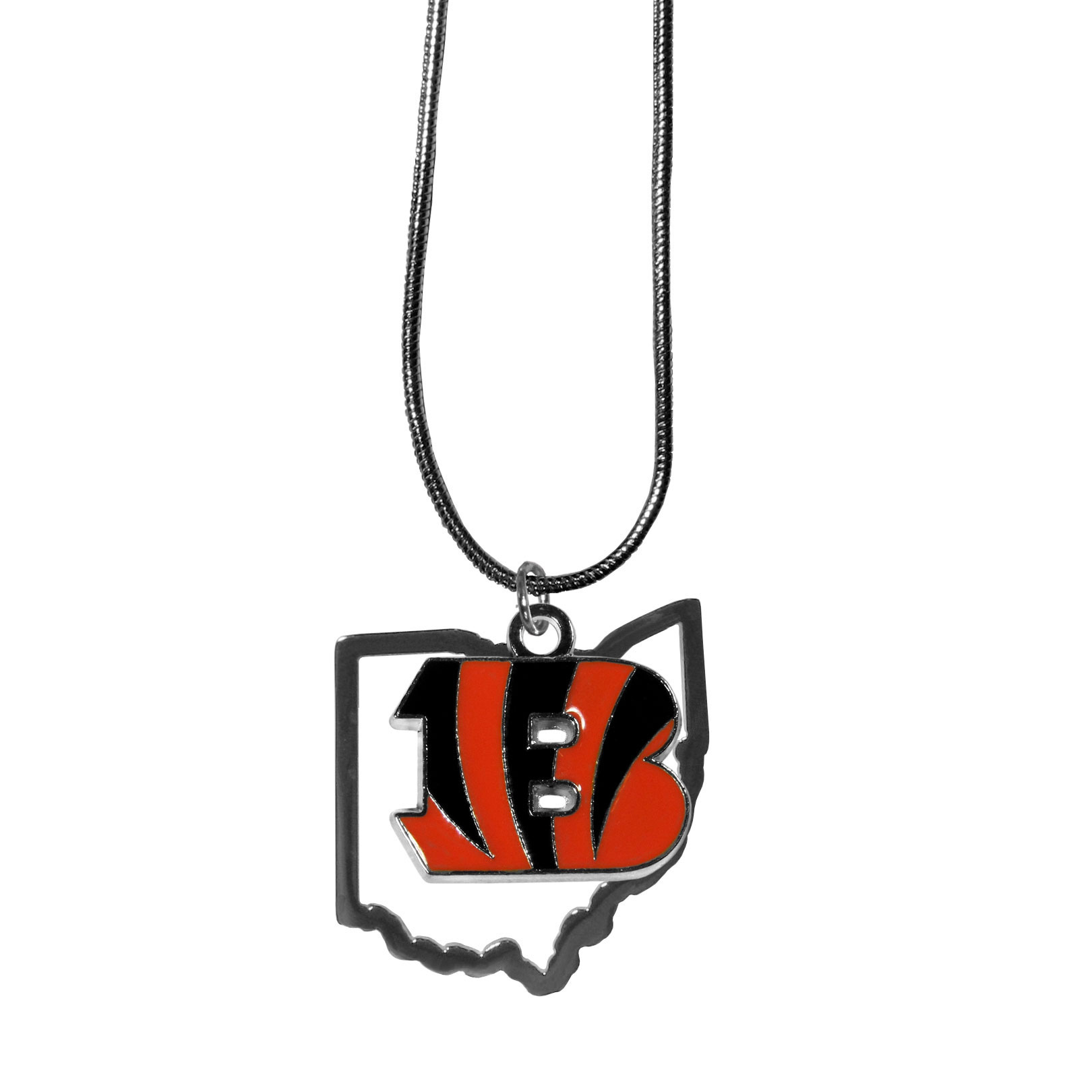 Cincinnati Bengals State Charm Necklace - Get in on the trend! State themes are a trend that just keeps getting more popular and these necklaces take the state style and give it a sporty twist with a Cincinnati Bengals added to the state outline charm. The come on a snake chain that is 22 inches long.