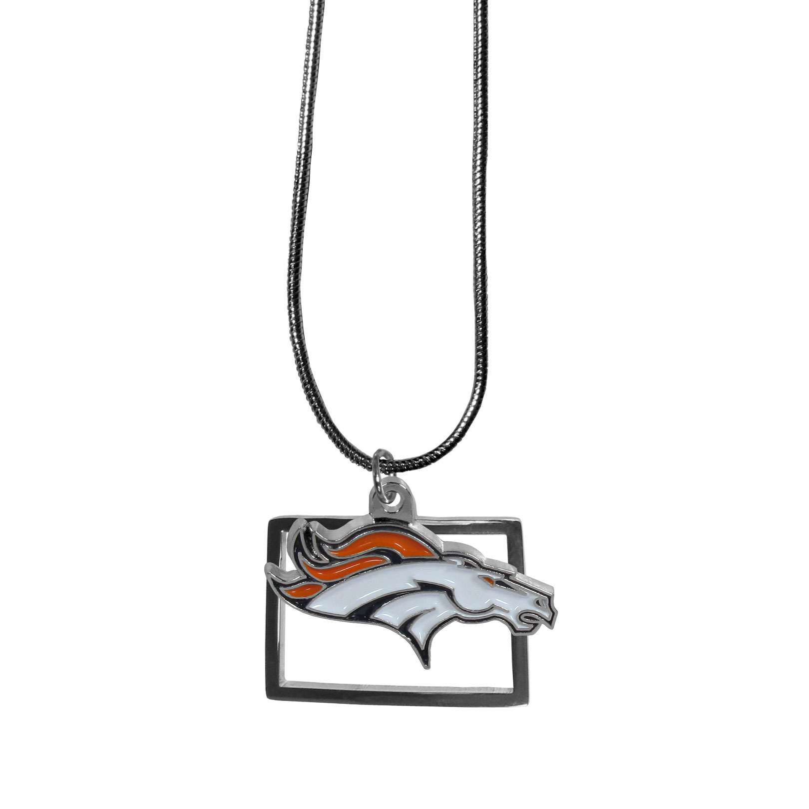 Denver Broncos State Charm Necklace - Get in on the trend! State themes are a trend that just keeps getting more popular and these necklaces take the state style and give it a sporty twist with a Denver Broncos added to the state outline charm. The come on a snake chain that is 22 inches long.