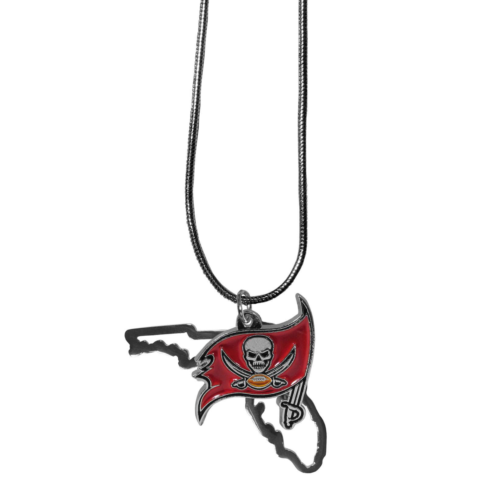Tampa Bay Buccaneers State Charm Necklace - Get in on the trend! State themes are a trend that just keeps getting more popular and these necklaces take the state style and give it a sporty twist with a Tampa Bay Buccaneers added to the state outline charm. The come on a snake chain that is 22 inches long.