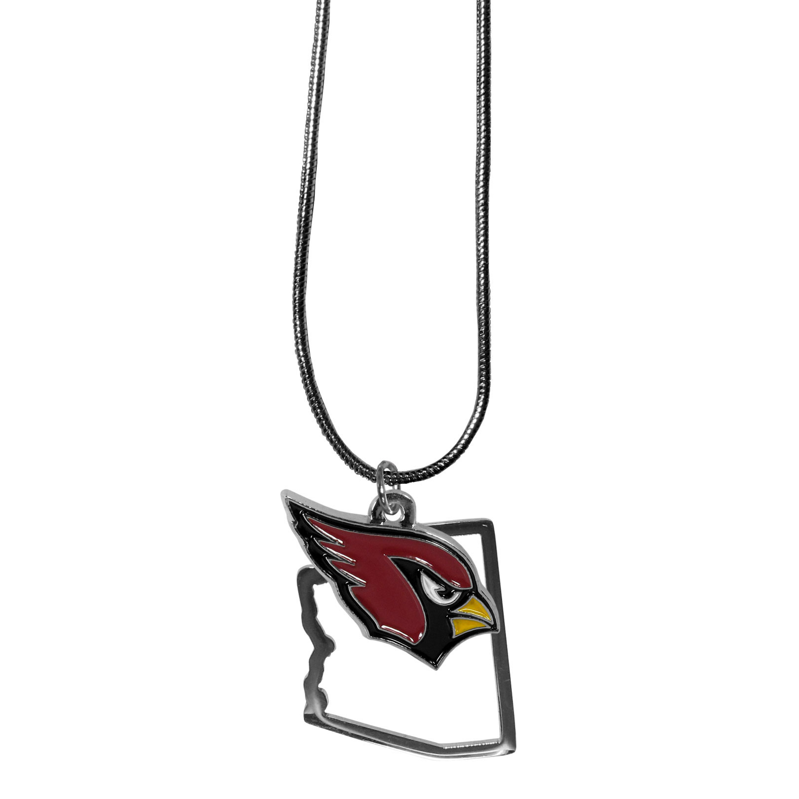 Arizona Cardinals State Charm Necklace - Get in on the trend! State themes are a trend that just keeps getting more popular and these necklaces take the state style and give it a sporty twist with a Arizona Cardinals added to the state outline charm. The come on a snake chain that is 22 inches long.