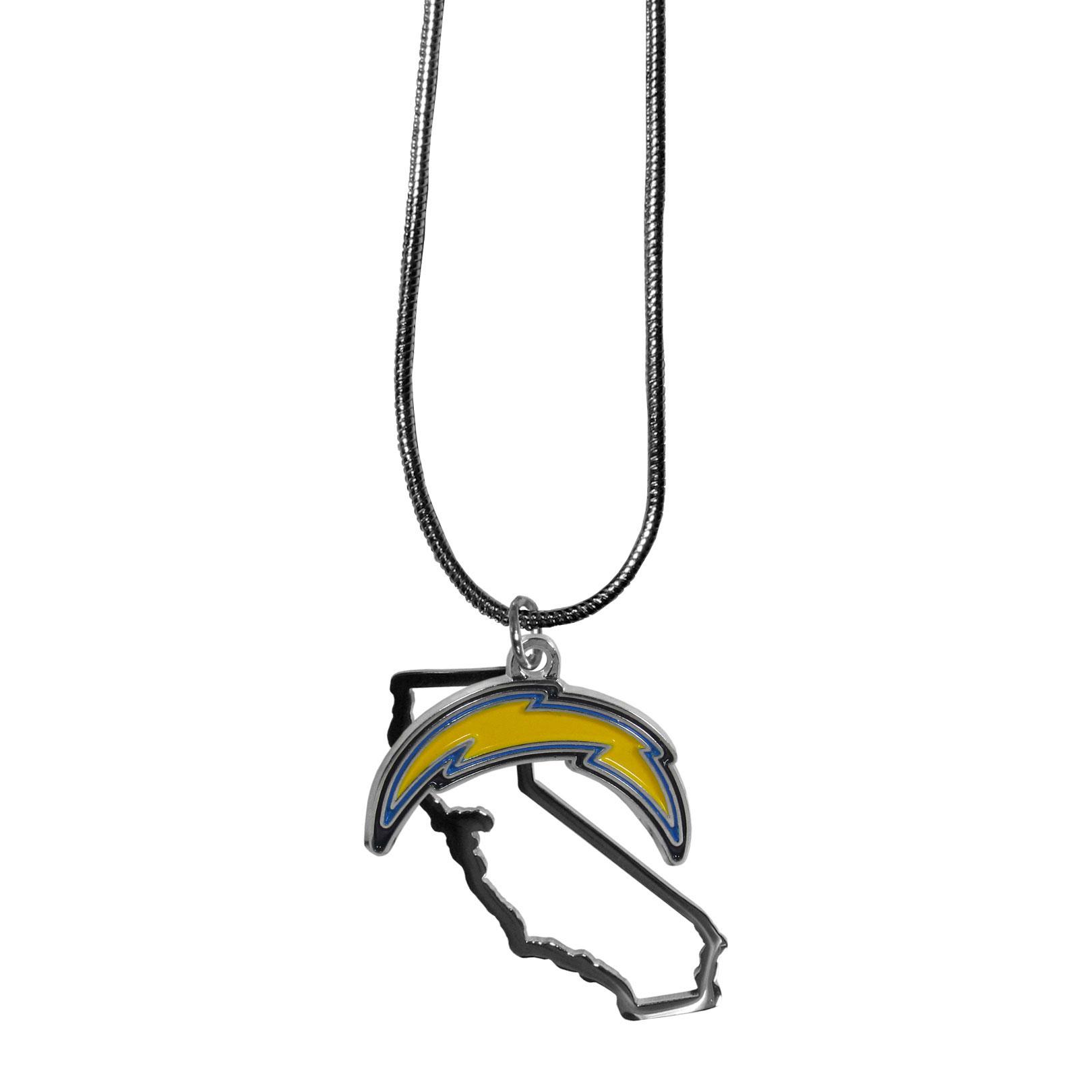 Los Angeles Chargers State Charm Necklace - Get in on the trend! State themes are a trend that just keeps getting more popular and these necklaces take the state style and give it a sporty twist with a Los Angeles Chargers added to the state outline charm. The come on a snake chain that is 22 inches long.