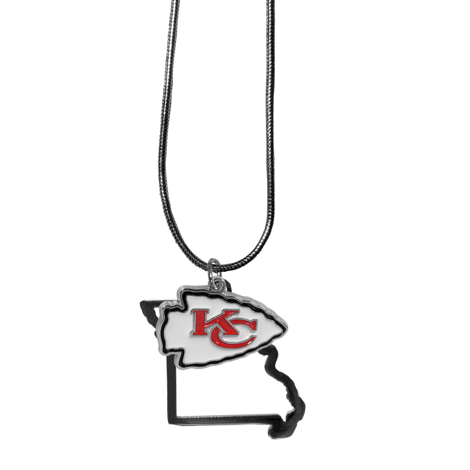 Kansas City Chiefs State Charm Necklace - Get in on the trend! State themes are a trend that just keeps getting more popular and these necklaces take the state style and give it a sporty twist with a Kansas City Chiefs added to the state outline charm. The come on a snake chain that is 22 inches long.