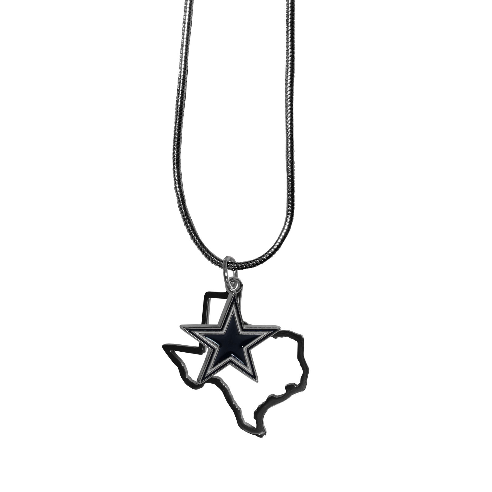 Dallas Cowboys State Charm Necklace - Get in on the trend! State themes are a trend that just keeps getting more popular and these necklaces take the state style and give it a sporty twist with a Dallas Cowboys added to the state outline charm. The come on a snake chain that is 22 inches long.