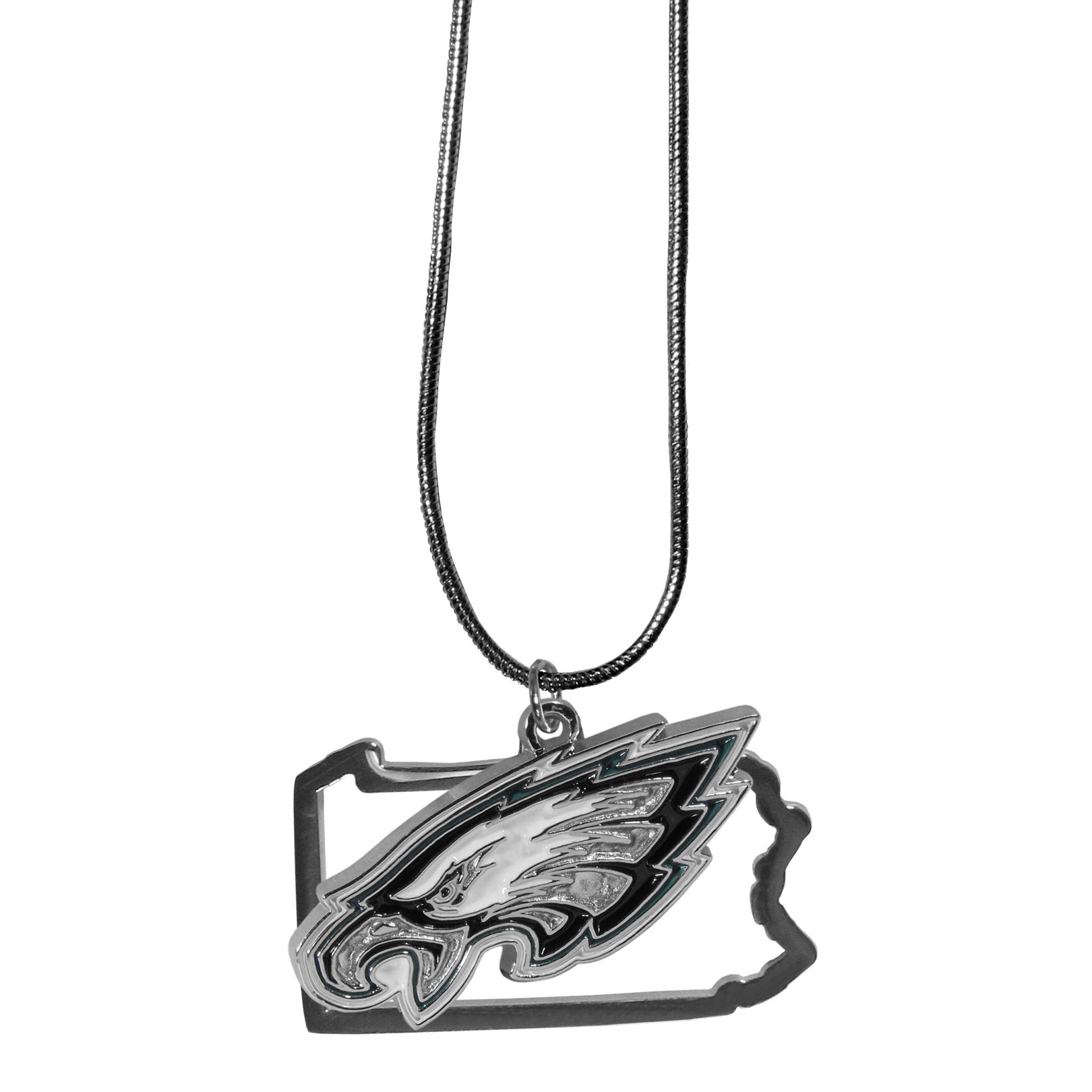 Philadelphia Eagles State Charm Necklace - Get in on the trend! State themes are a trend that just keeps getting more popular and these necklaces take the state style and give it a sporty twist with a Philadelphia Eagles added to the state outline charm. The come on a snake chain that is 22 inches long.