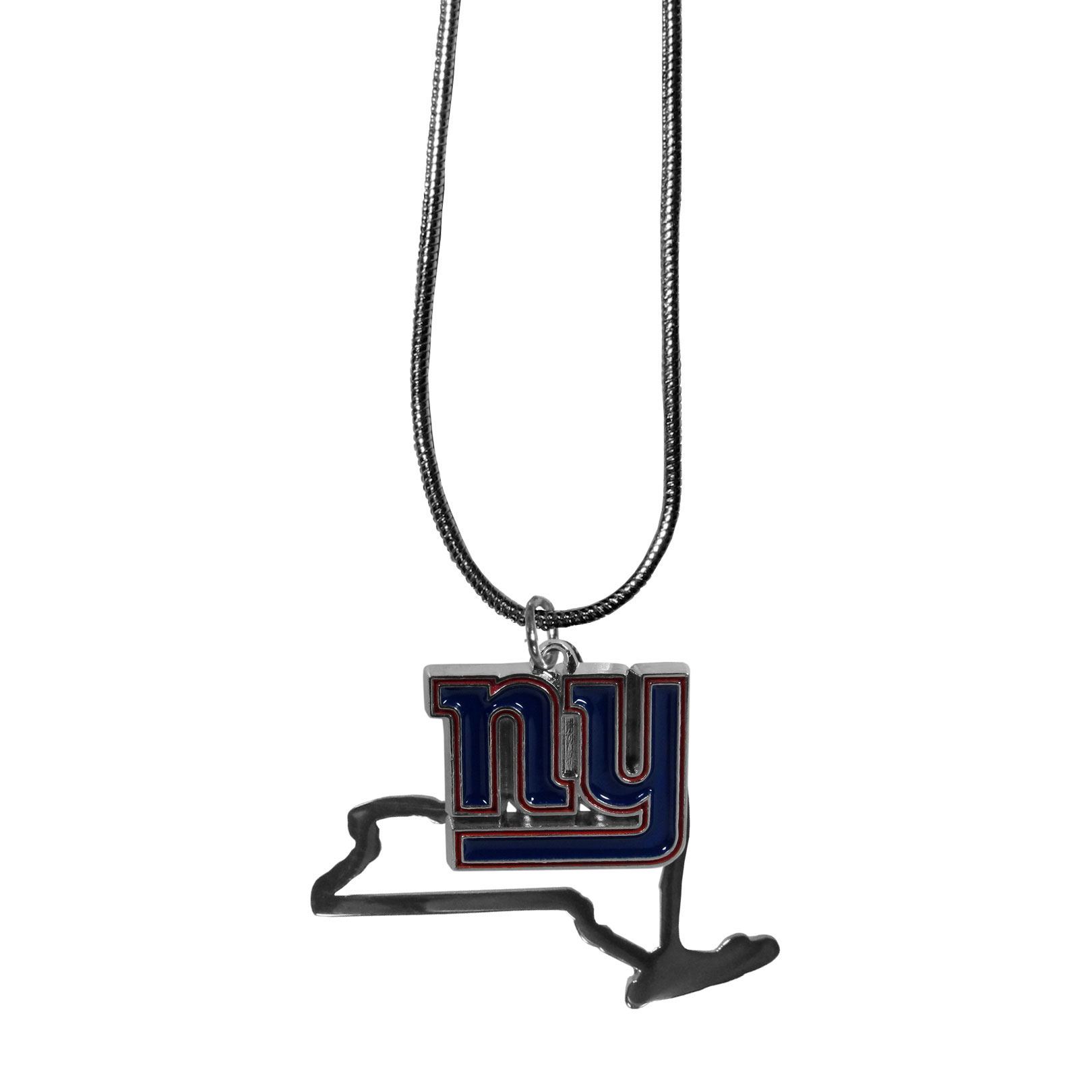 New York Giants State Charm Necklace - Get in on the trend! State themes are a trend that just keeps getting more popular and these necklaces take the state style and give it a sporty twist with a New York Giants added to the state outline charm. The come on a snake chain that is 22 inches long.