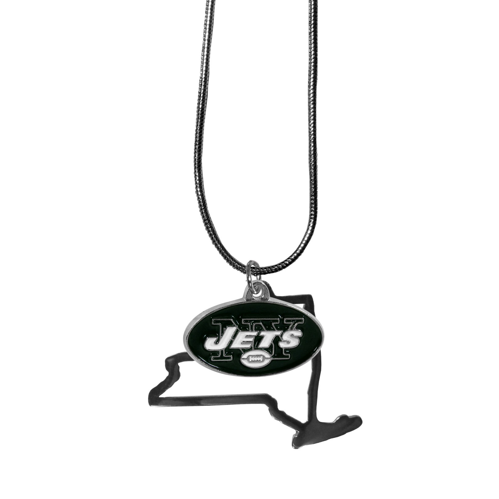 New York Jets State Charm Necklace - Get in on the trend! State themes are a trend that just keeps getting more popular and these necklaces take the state style and give it a sporty twist with a New York Jets added to the state outline charm. The come on a snake chain that is 22 inches long.