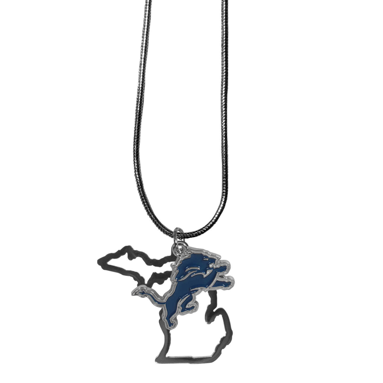 Detroit Lions State Charm Necklace - Get in on the trend! State themes are a trend that just keeps getting more popular and these necklaces take the state style and give it a sporty twist with a Detroit Lions added to the state outline charm. The come on a snake chain that is 22 inches long.