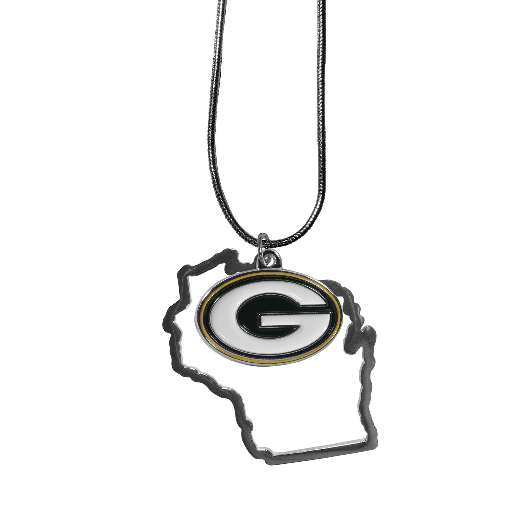 Green Bay Packers State Charm Necklace - Get in on the trend! State themes are a trend that just keeps getting more popular and these necklaces take the state style and give it a sporty twist with a Green Bay Packers added to the state outline charm. The come on a snake chain that is 22 inches long.