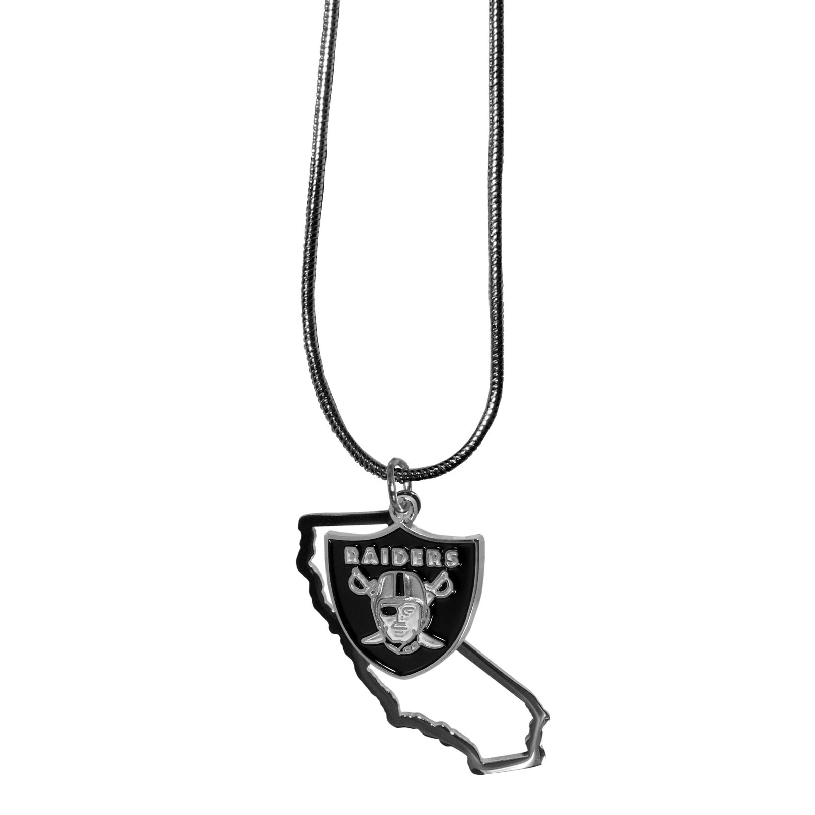 Oakland Raiders State Charm Necklace - Get in on the trend! State themes are a trend that just keeps getting more popular and these necklaces take the state style and give it a sporty twist with a Oakland Raiders added to the state outline charm. The come on a snake chain that is 22 inches long.