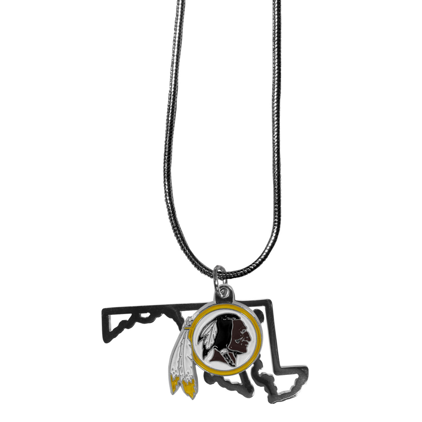 Washington Redskins State Charm Necklace - Get in on the trend! State themes are a trend that just keeps getting more popular and these necklaces take the state style and give it a sporty twist with a Washington Redskins added to the state outline charm. The come on a snake chain that is 22 inches long.