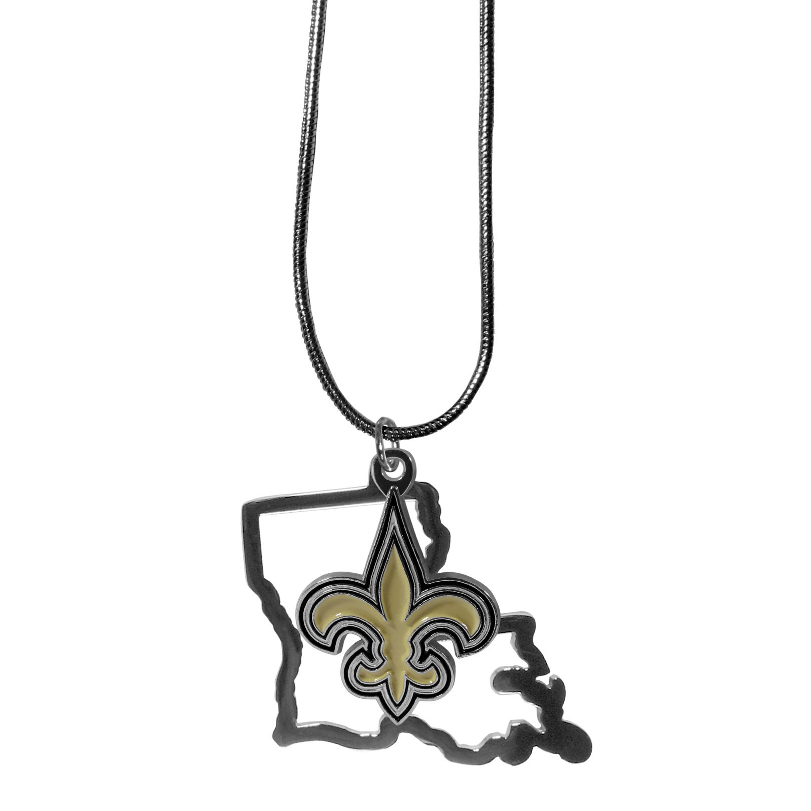 New Orleans Saints State Charm Necklace - Get in on the trend! State themes are a trend that just keeps getting more popular and these necklaces take the state style and give it a sporty twist with a New Orleans Saints added to the state outline charm. The come on a snake chain that is 22 inches long.