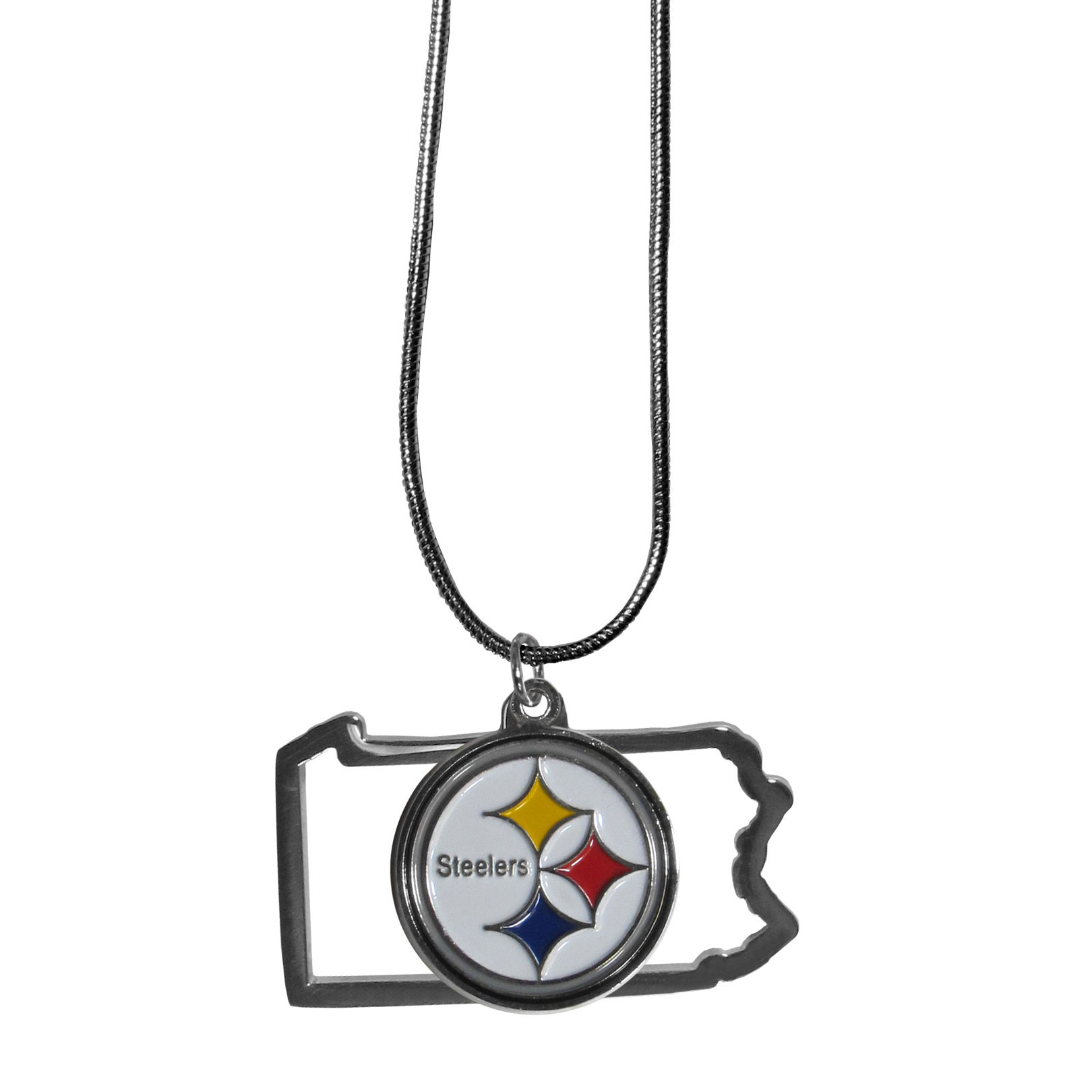 Pittsburgh Steelers State Charm Necklace - Get in on the trend! State themes are a trend that just keeps getting more popular and these necklaces take the state style and give it a sporty twist with a Pittsburgh Steelers added to the state outline charm. The come on a snake chain that is 22 inches long.