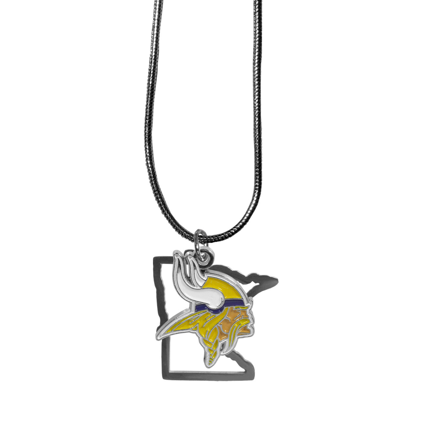 Minnesota Vikings State Charm Necklace - Get in on the trend! State themes are a trend that just keeps getting more popular and these necklaces take the state style and give it a sporty twist with a Minnesota Vikings added to the state outline charm. The come on a snake chain that is 22 inches long.