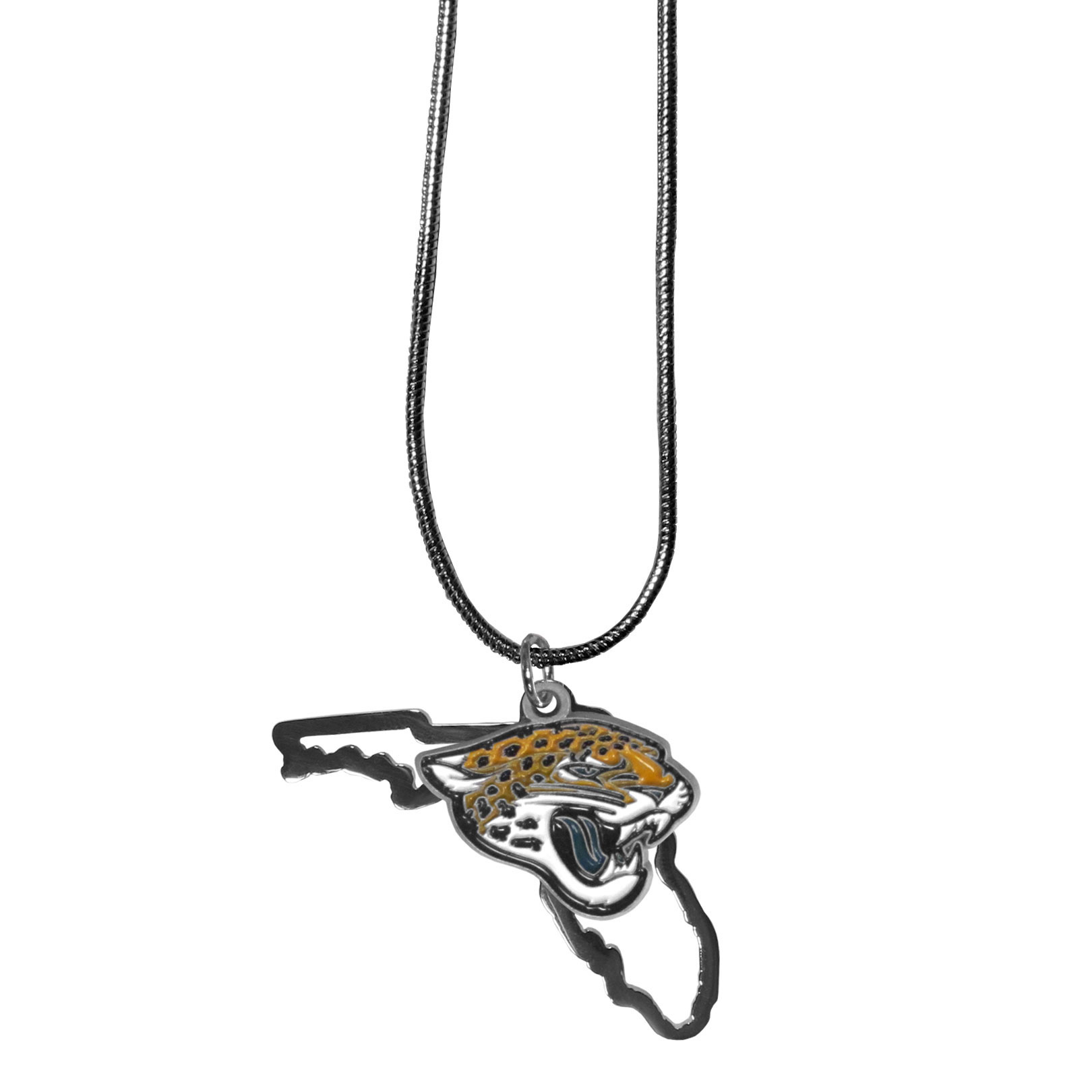 Jacksonville Jaguars State Charm Necklace - Get in on the trend! State themes are a trend that just keeps getting more popular and these necklaces take the state style and give it a sporty twist with a Jacksonville Jaguars added to the state outline charm. The come on a snake chain that is 22 inches long.