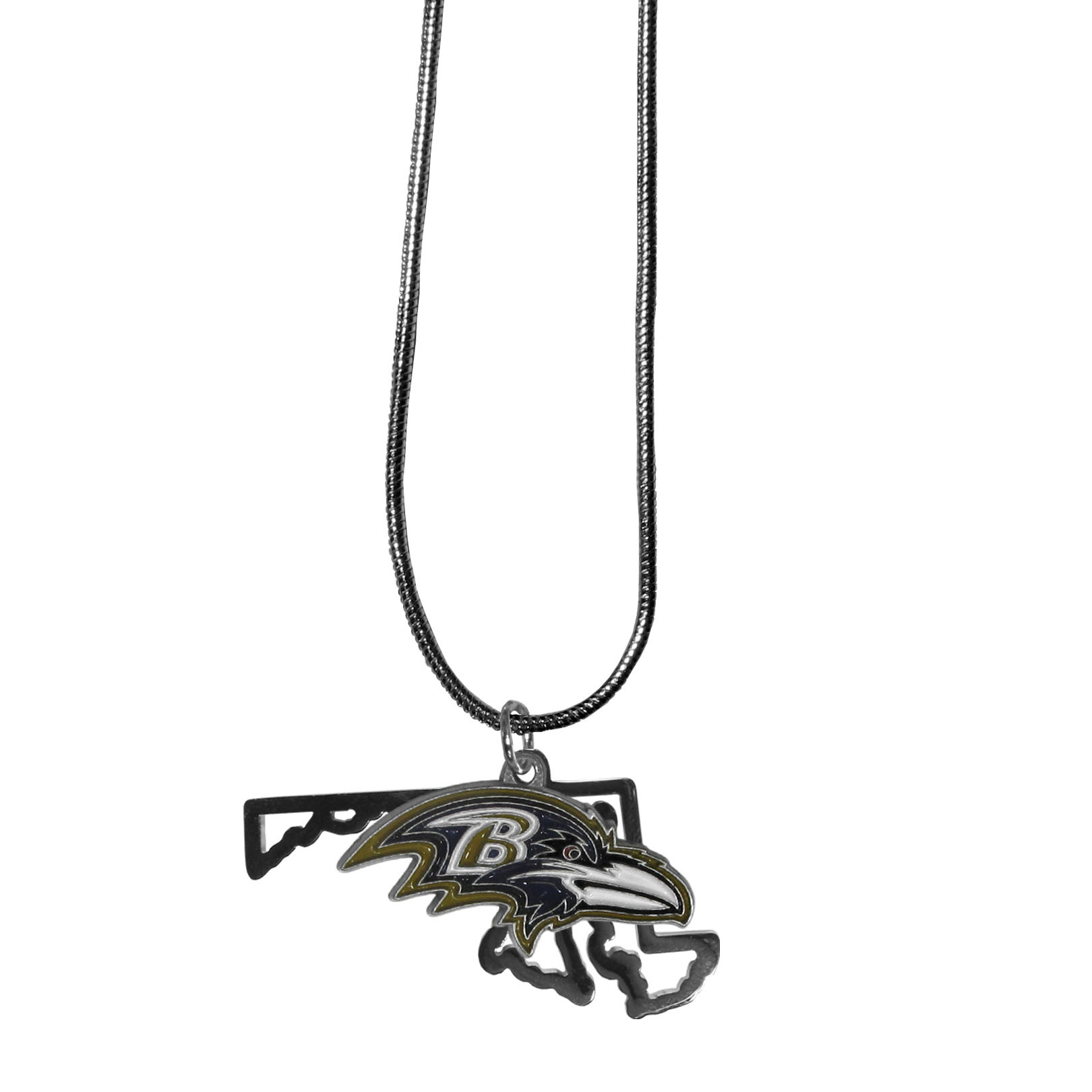 Baltimore Ravens State Charm Necklace - Get in on the trend! State themes are a trend that just keeps getting more popular and these necklaces take the state style and give it a sporty twist with a Baltimore Ravens added to the state outline charm. The come on a snake chain that is 22 inches long.