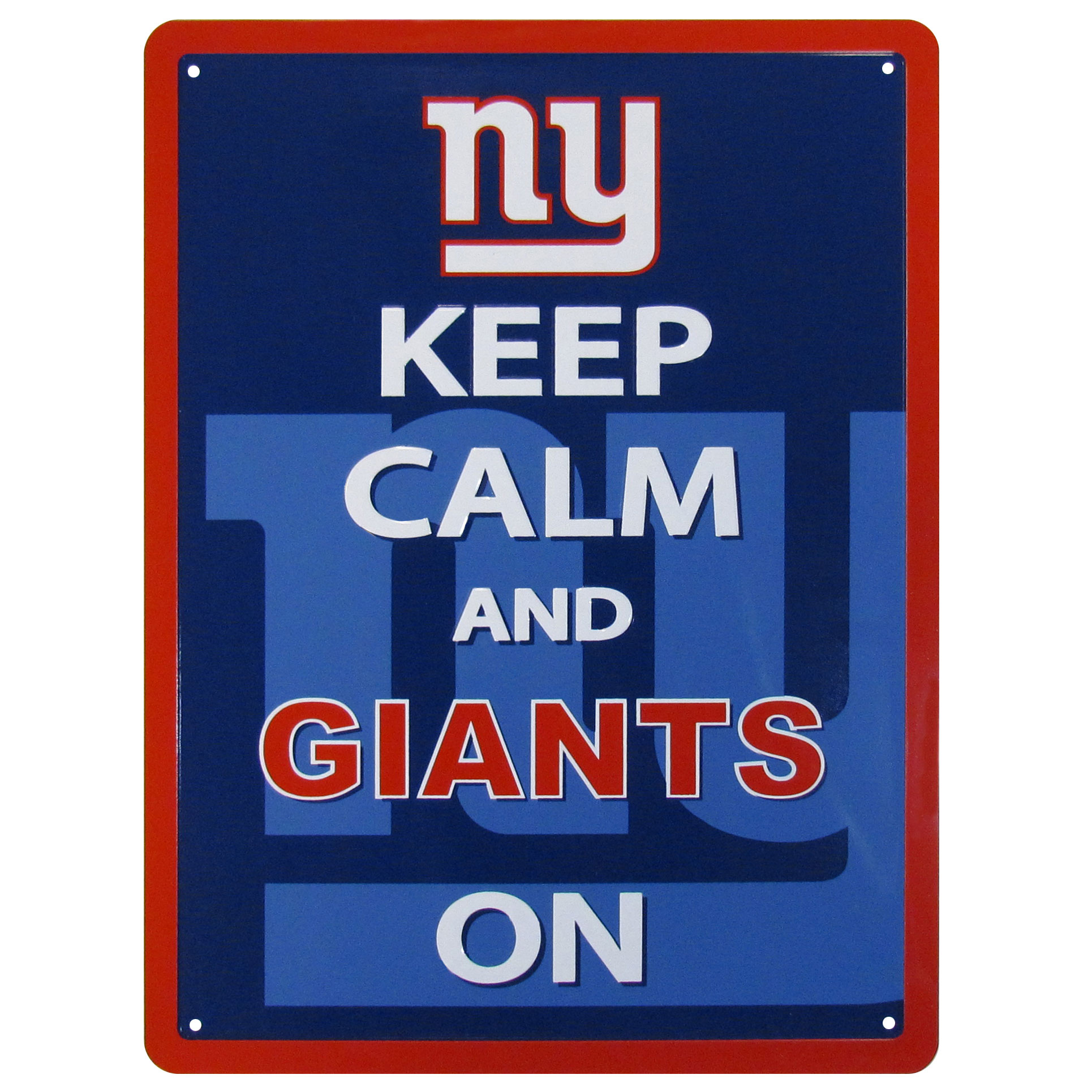 New York Giants Keep Calm Sign - One of the most enduring motivational signs of all time is now available with your beloved New York Giants logo. The 9 inch by 12 inch sign is a must have for any fan cave!