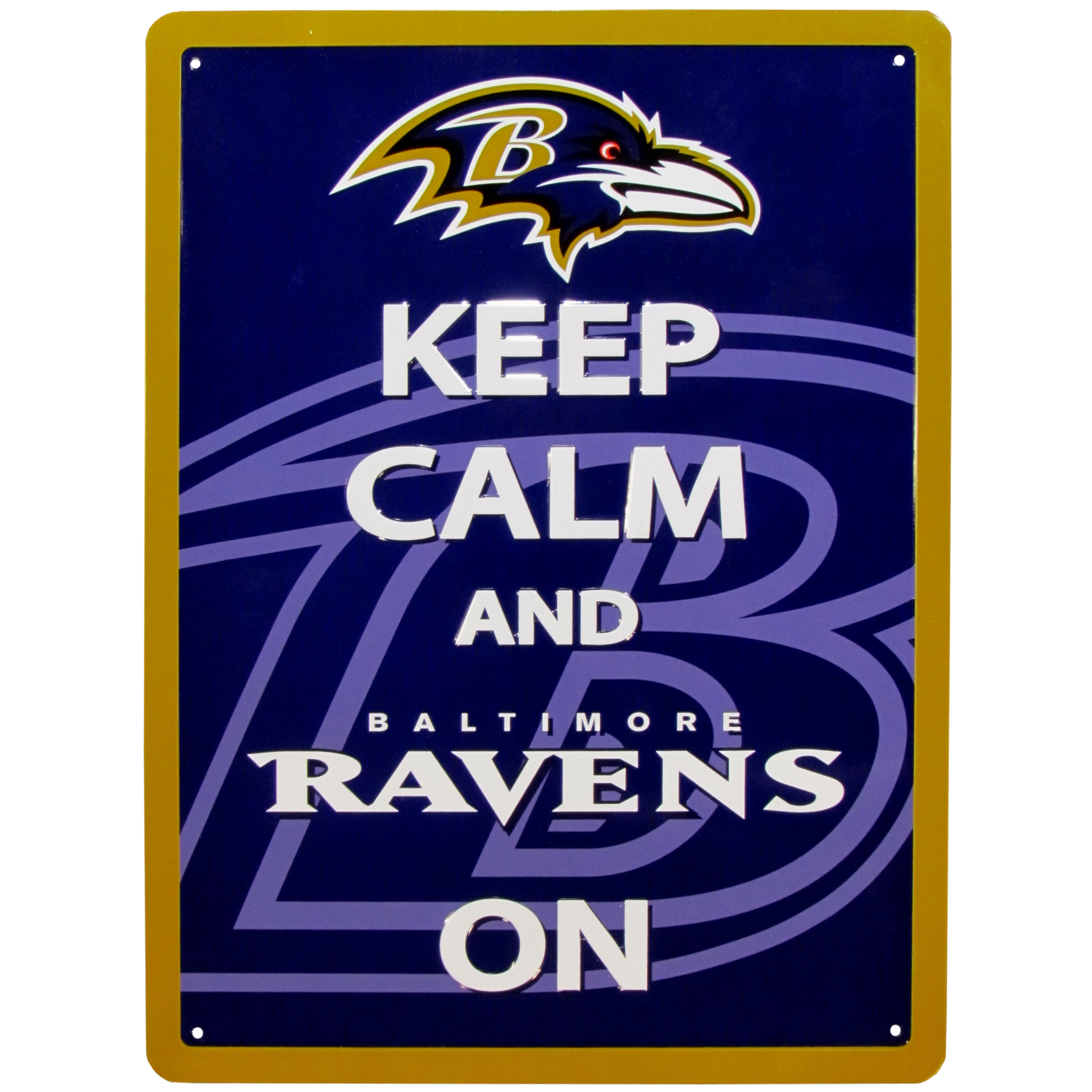 Baltimore Ravens Keep Calm Sign - One of the most enduring motivational signs of all time is now available with your beloved Baltimore Ravens logo. The 9 inch by 12 inch sign is a must have for any fan cave!