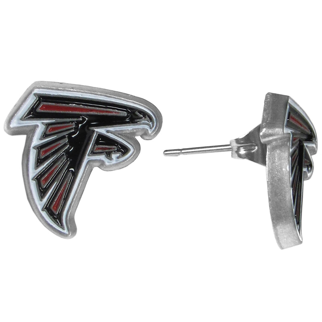 Atlanta Falcons Stud Earrings - Big and flashy isn't for every woman. These 1/2 inch stud earrings offer a small option that still shows she is a true Atlanta Falcons fan. The earrings have hypoallergenic posts.